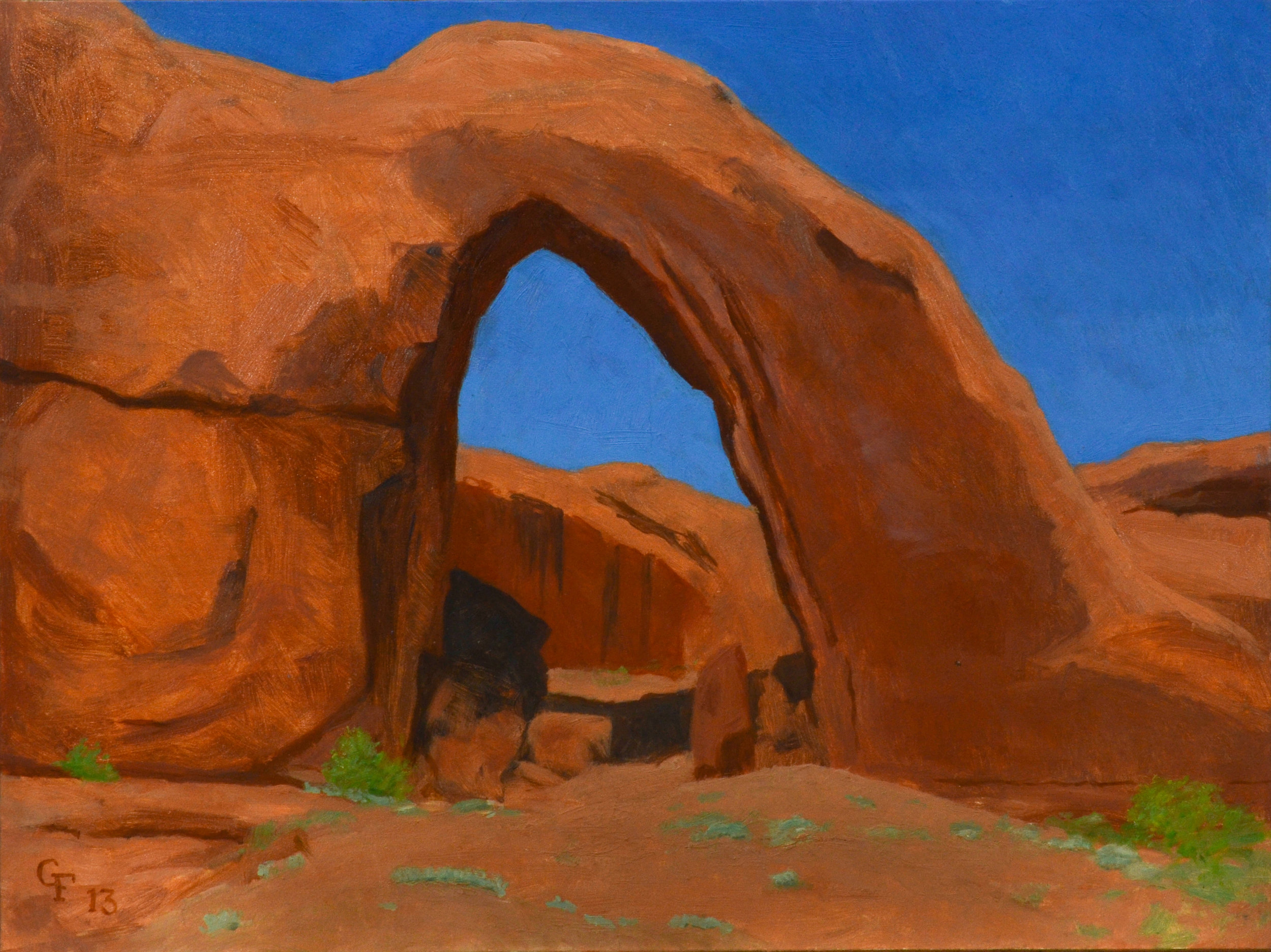 "Broken Bow Arch, oil on panel 9"" X 12"""