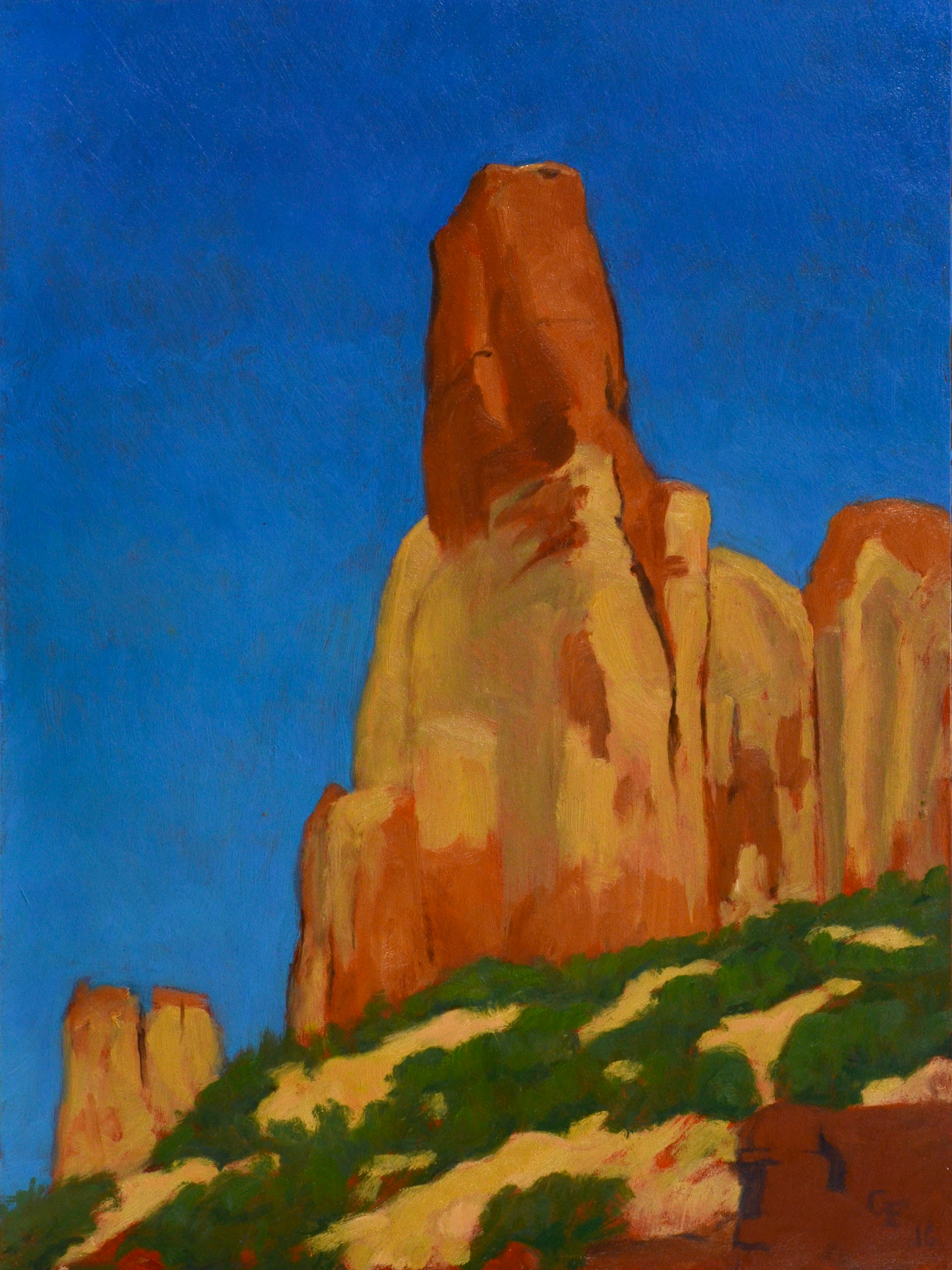 "Long Canyon Spire, oil on panel 12"" X 9"""