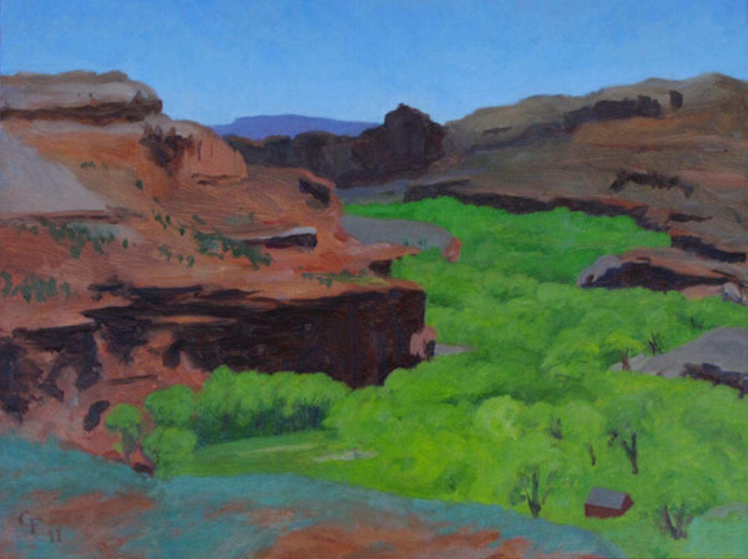 "Escalante River, oil on panel 9"" X 12"""