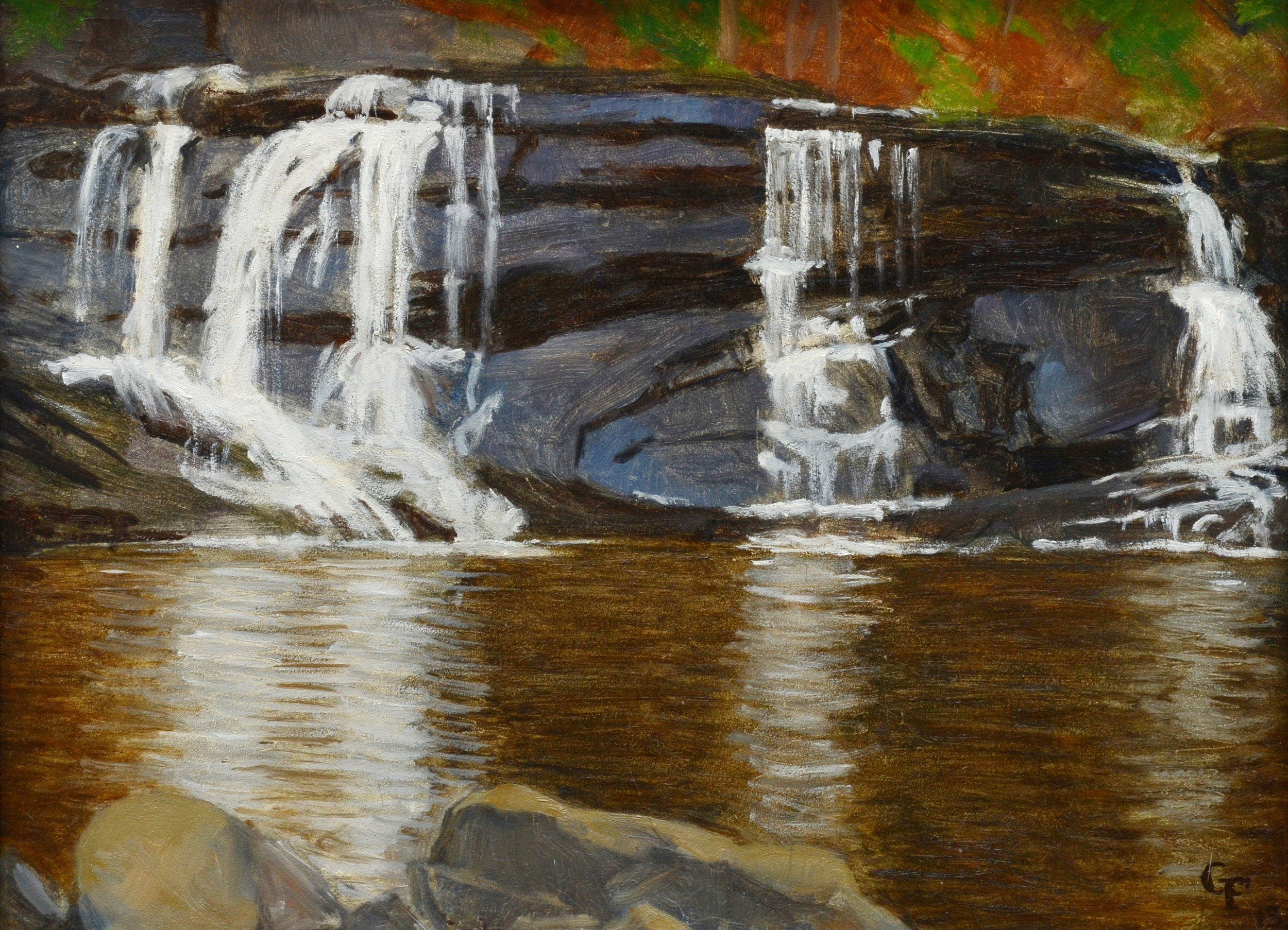 "Robin's Falls, oil on panel, 9"" x 12"""