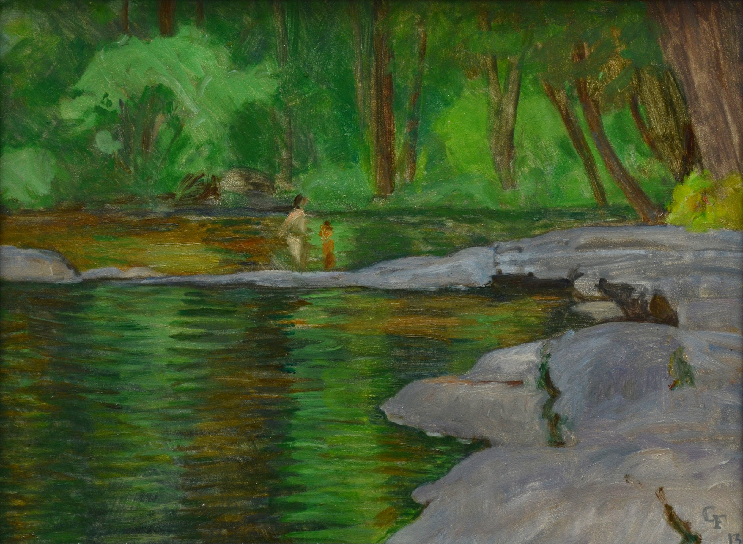 "Swimming Hole, oil on panel, 9"" x 12"""