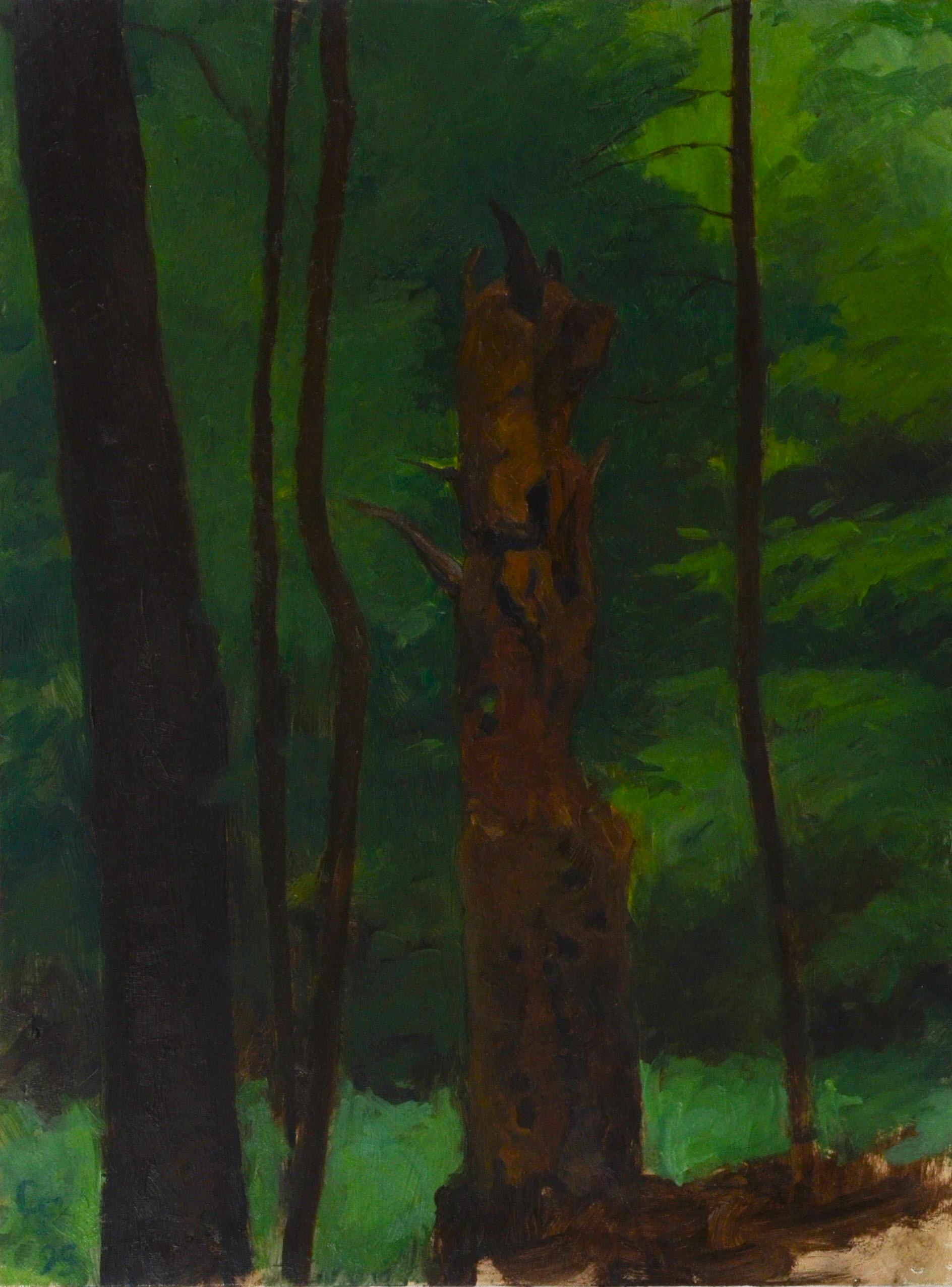 "Horned God as Tree Stump, o/p, 12"" x 9"""
