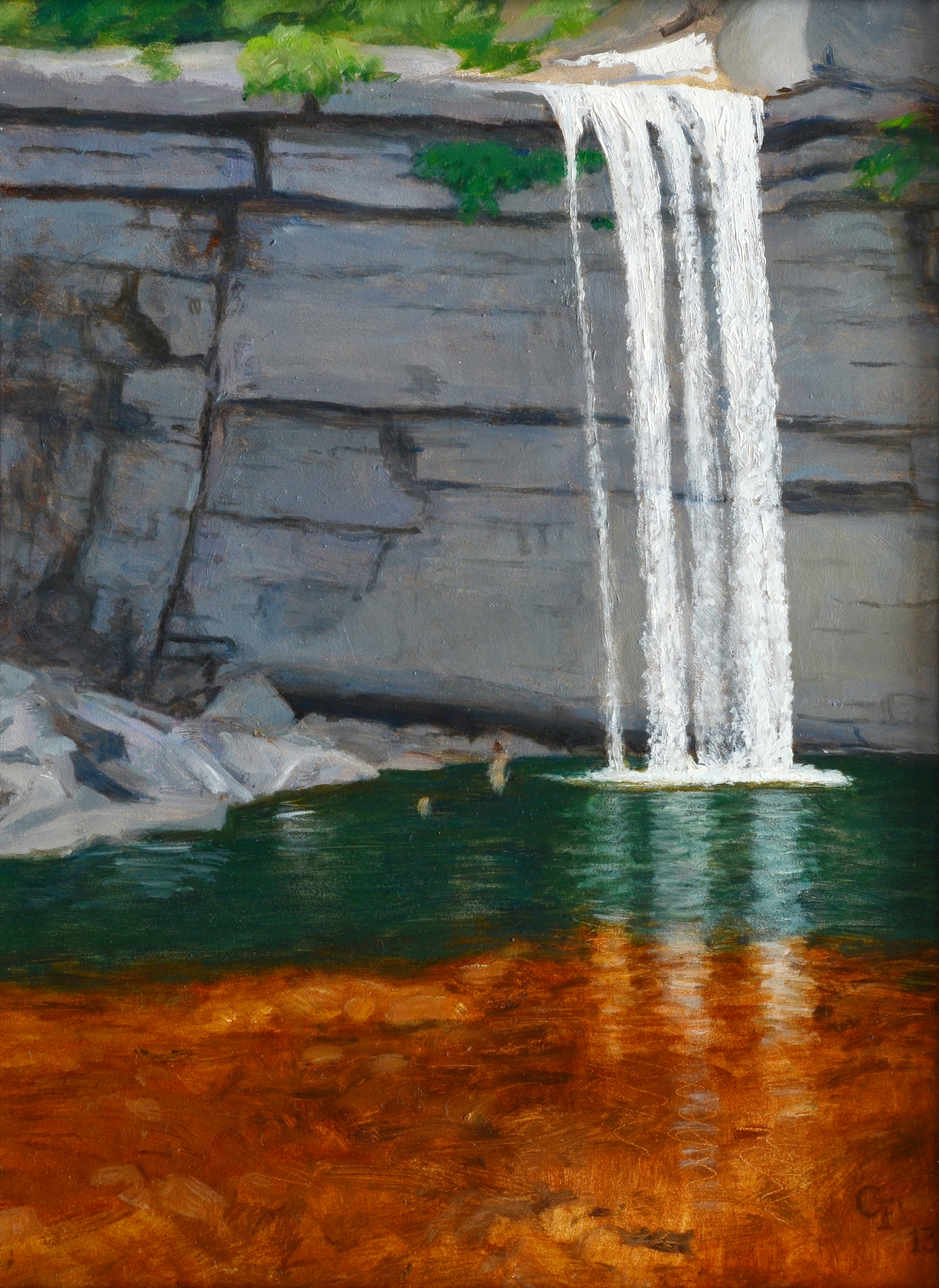 "Awosting Falls, oil on panel, 12"" x 9"""