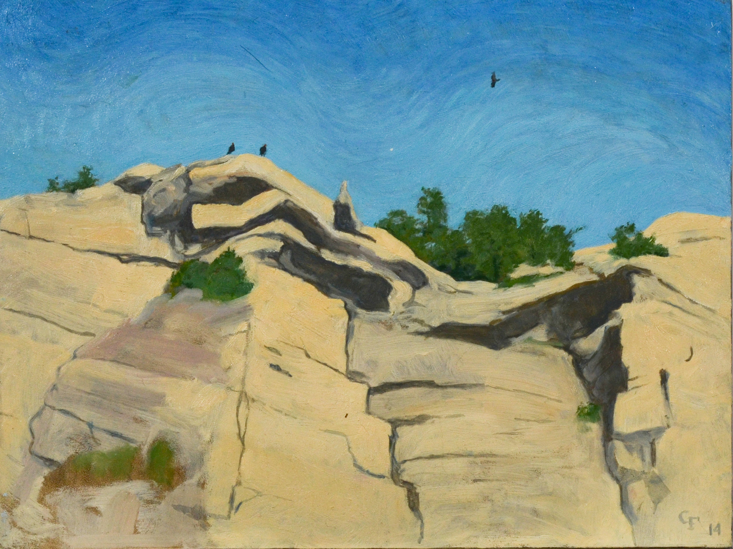 "Vulture Rest, oil on panel, 9"" x 12"""