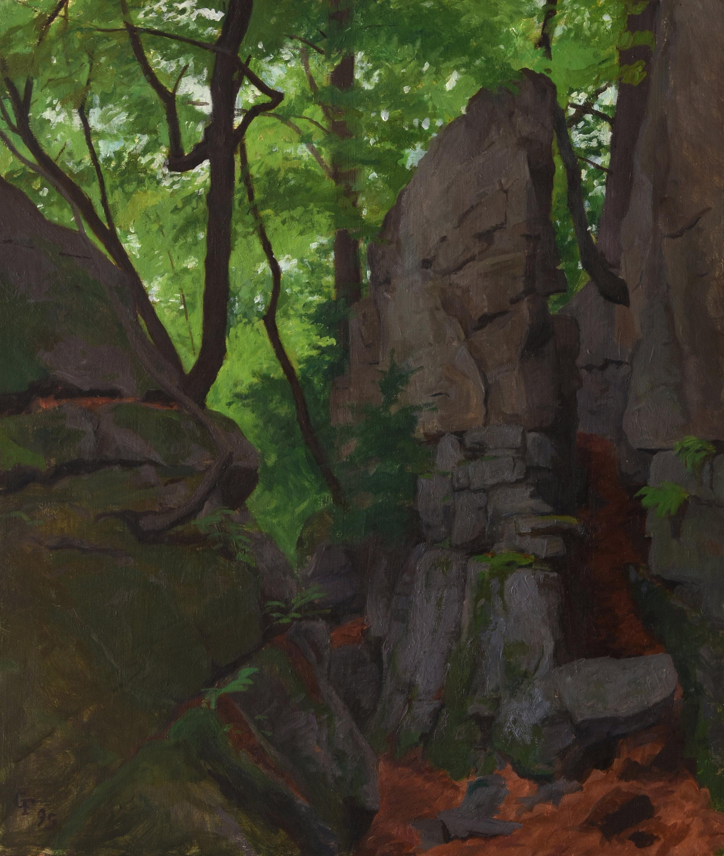 "Grotto II, oil on panel, 18"" x 15"""