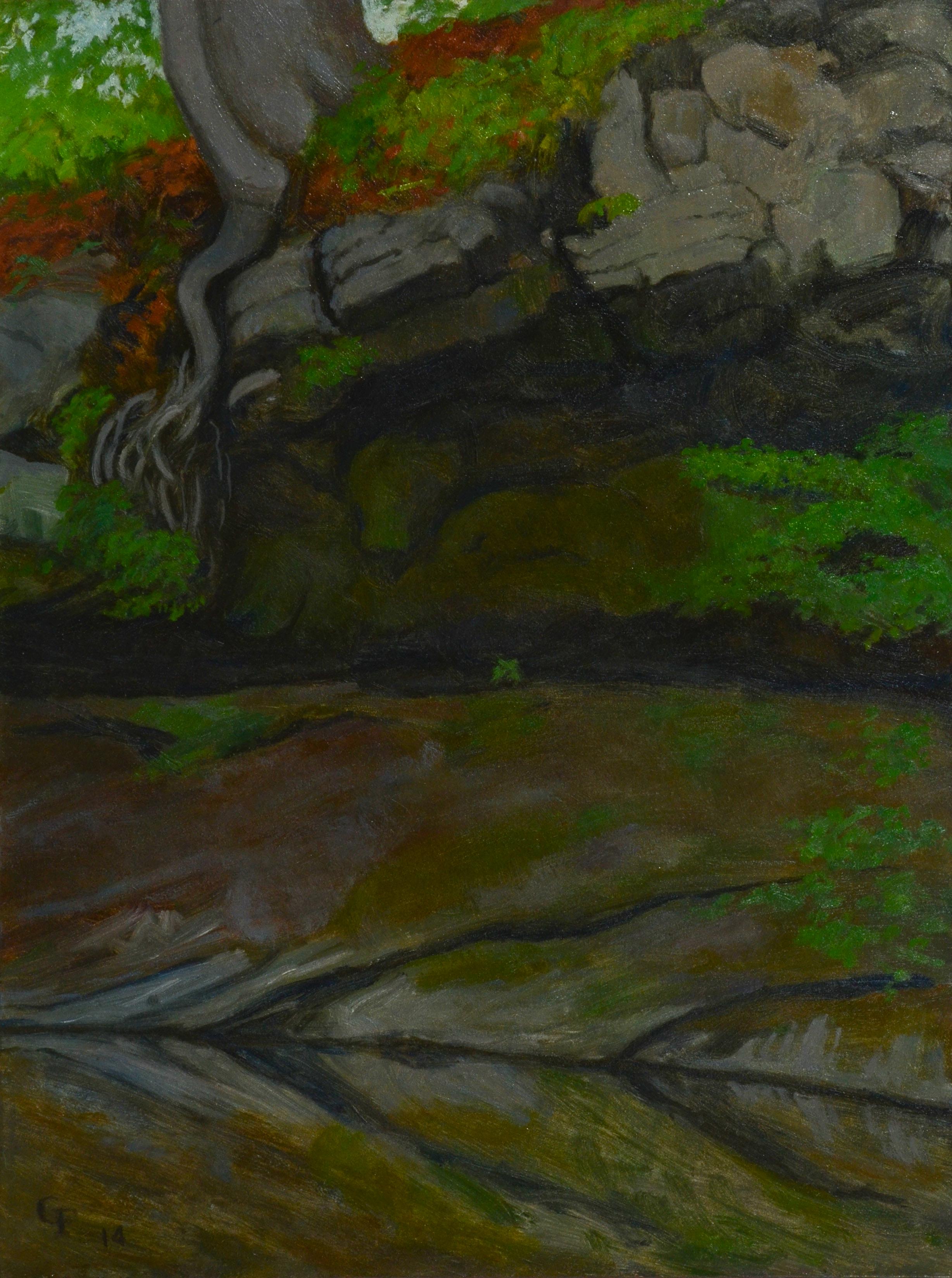 """Robin Falls II, oil on panel, 12"""" x 9"""""""