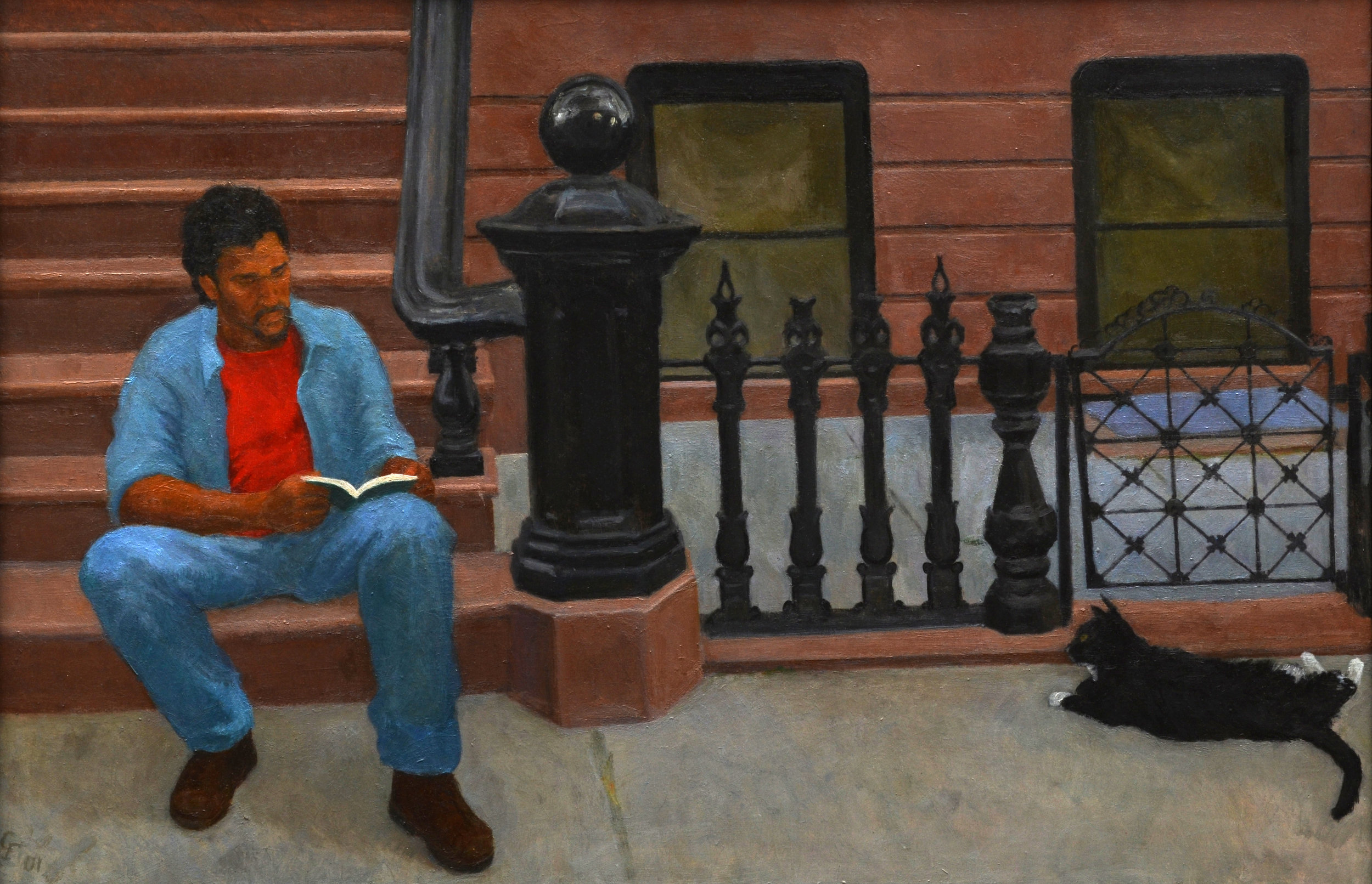 "Elvis on Stoop, oil on plywood, 17""x 25.75"""