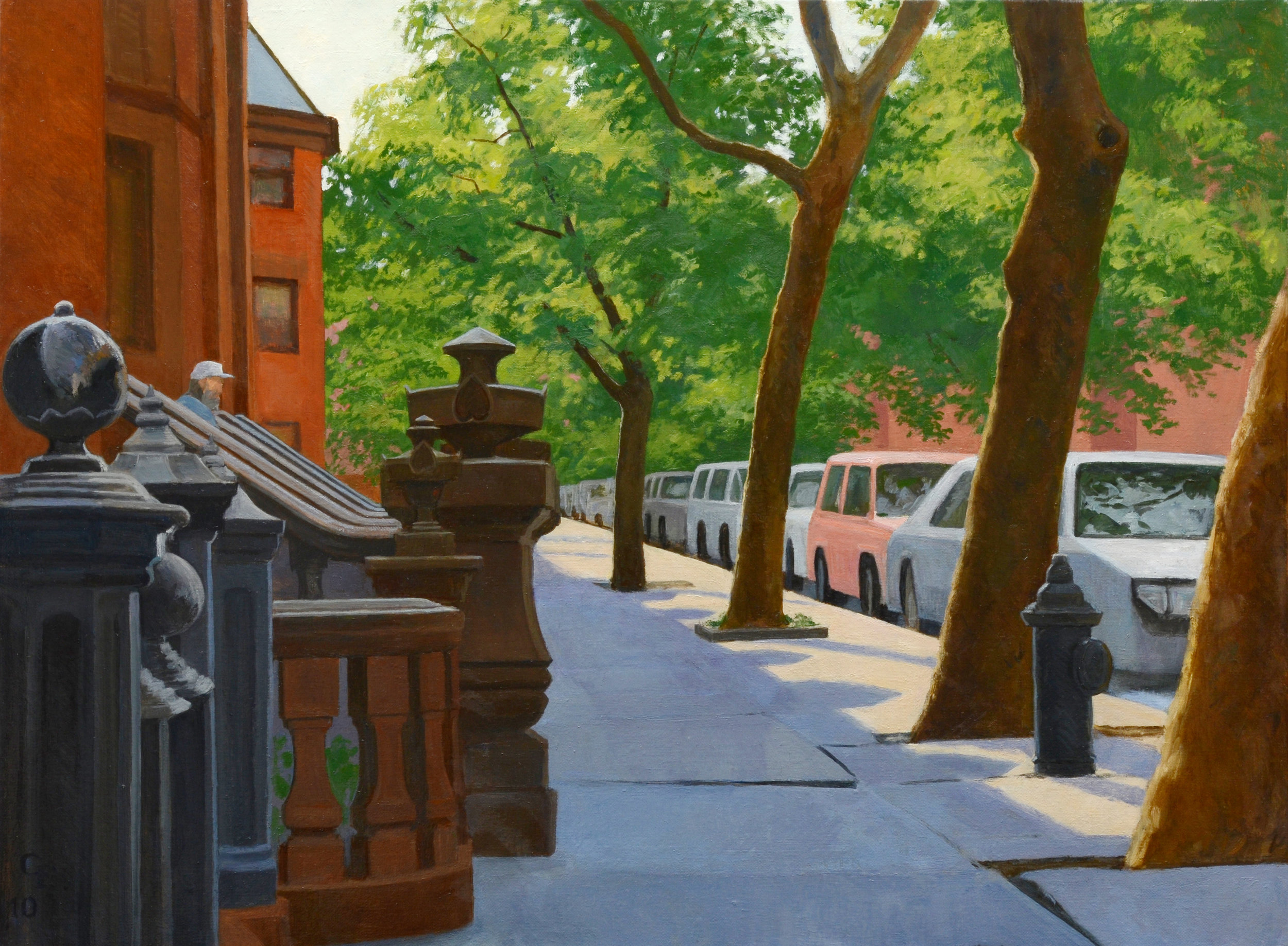"Lincoln Place Stoop, oil on canvas, 18"" x 24"""