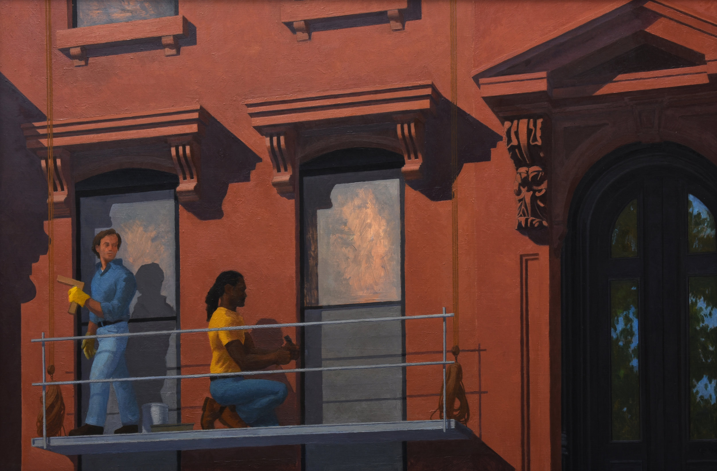 "Brownstone Renewal, oil on plywood, 24"" x 36"""