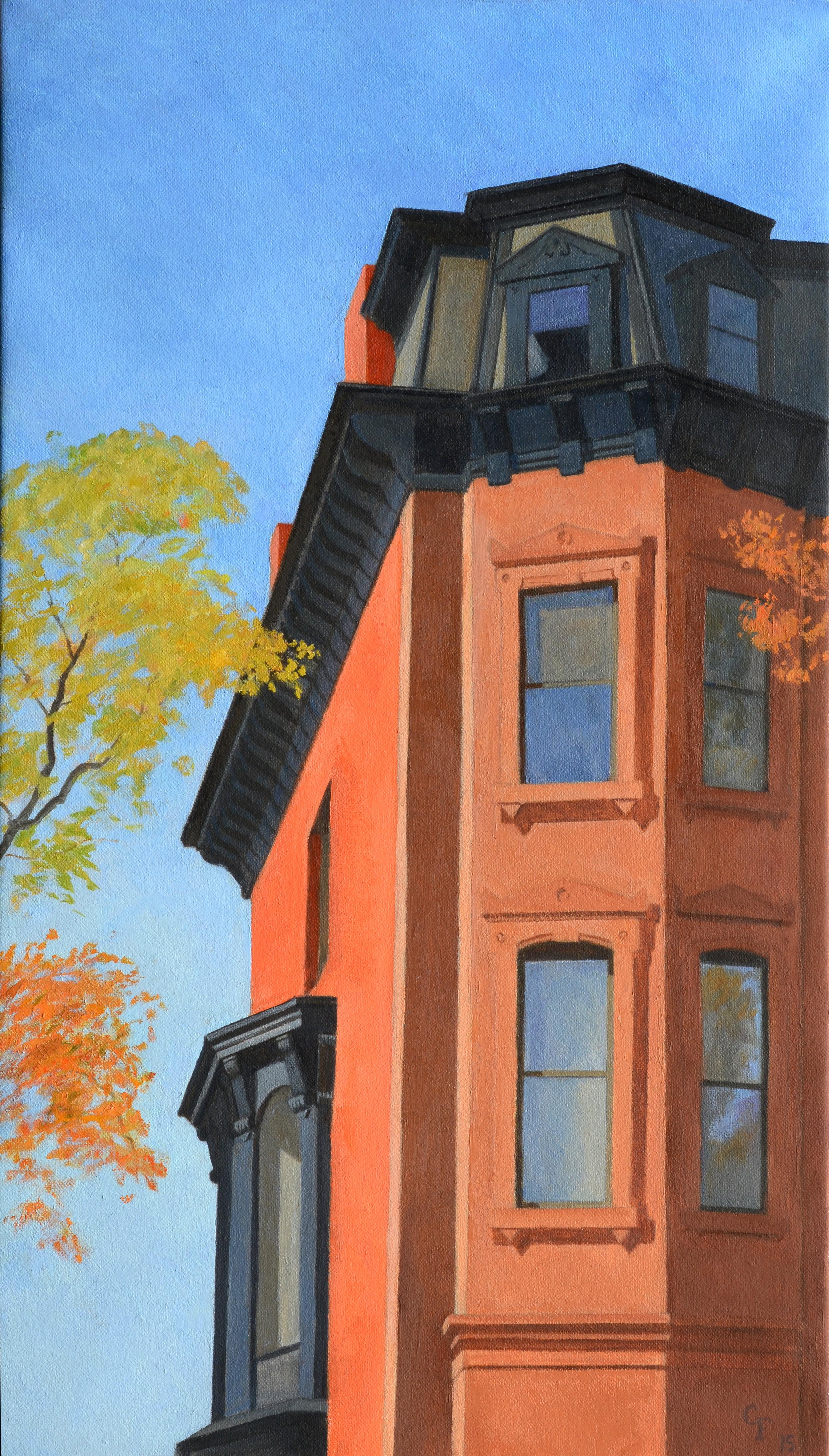 """Mansard Window, oil on canvas, 24"""" x 14"""""""
