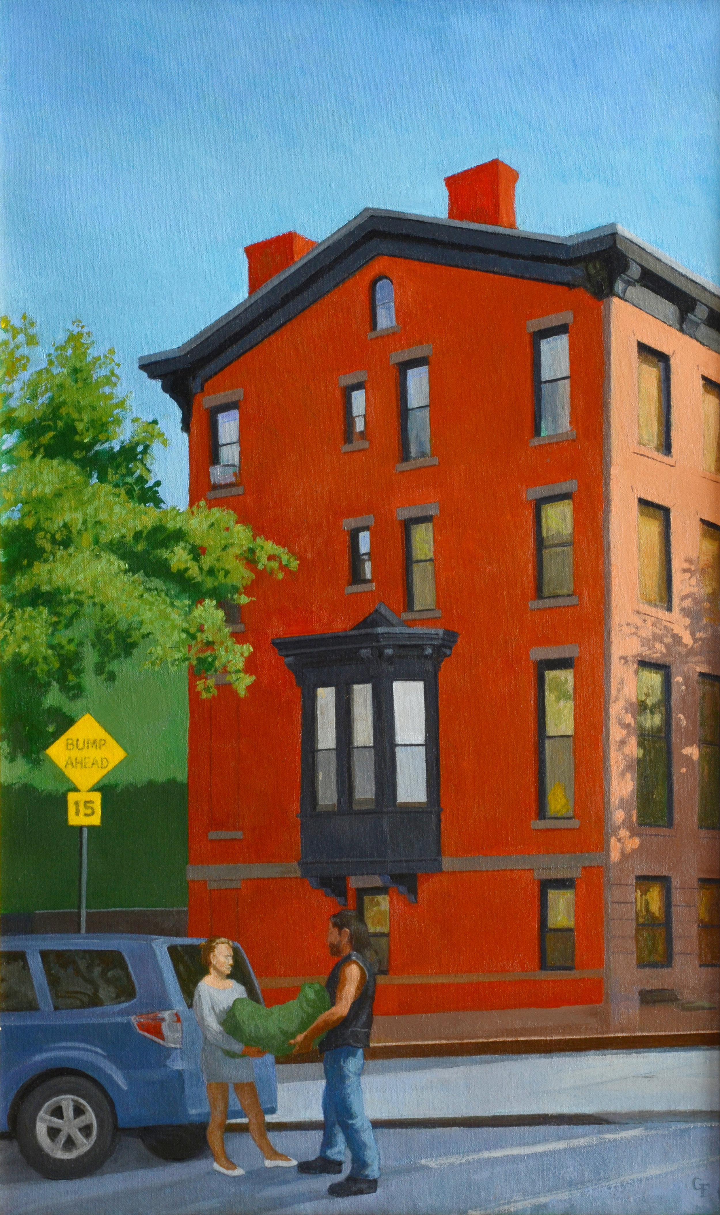 "End of Brownstone, oil on canvas, 30"" x 18"""
