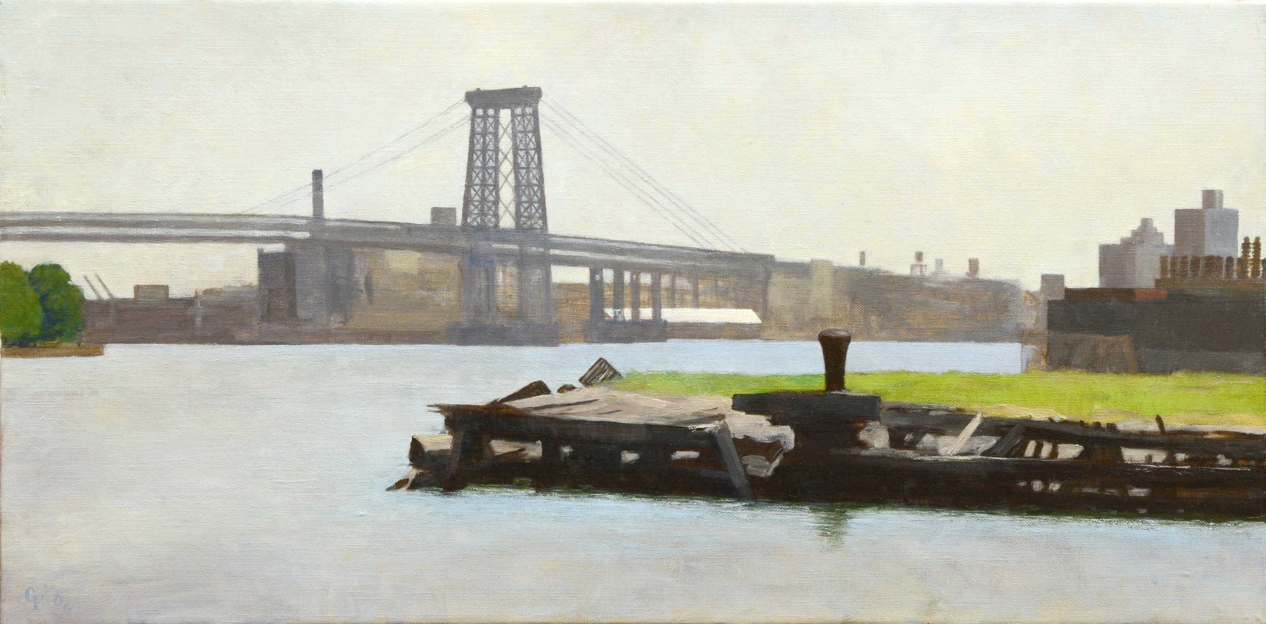"Lagoon and Bridge, o/c, 13"" x 26"""