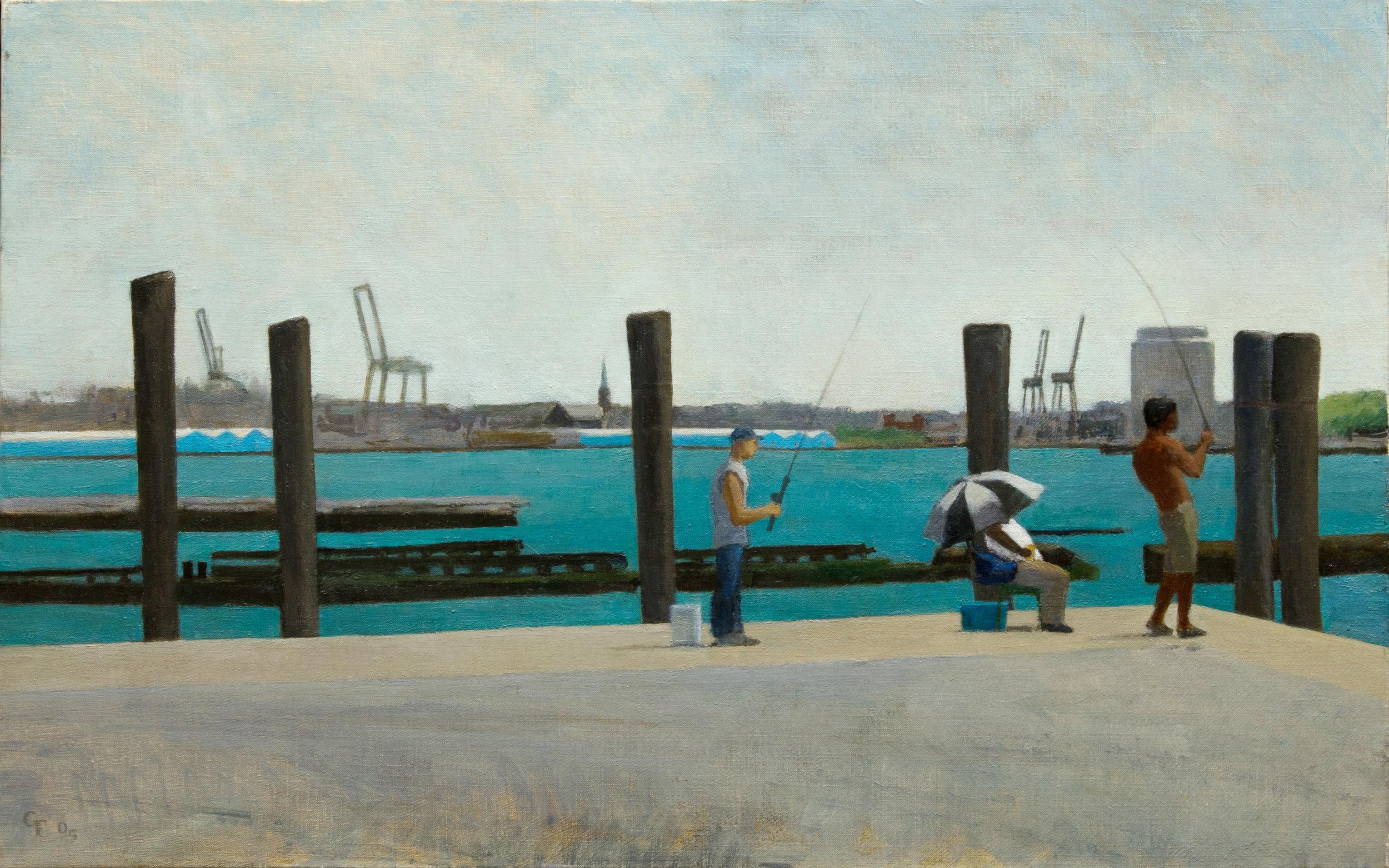 """Fishing at Battery Park, o/c, 14"""" x 22"""""""