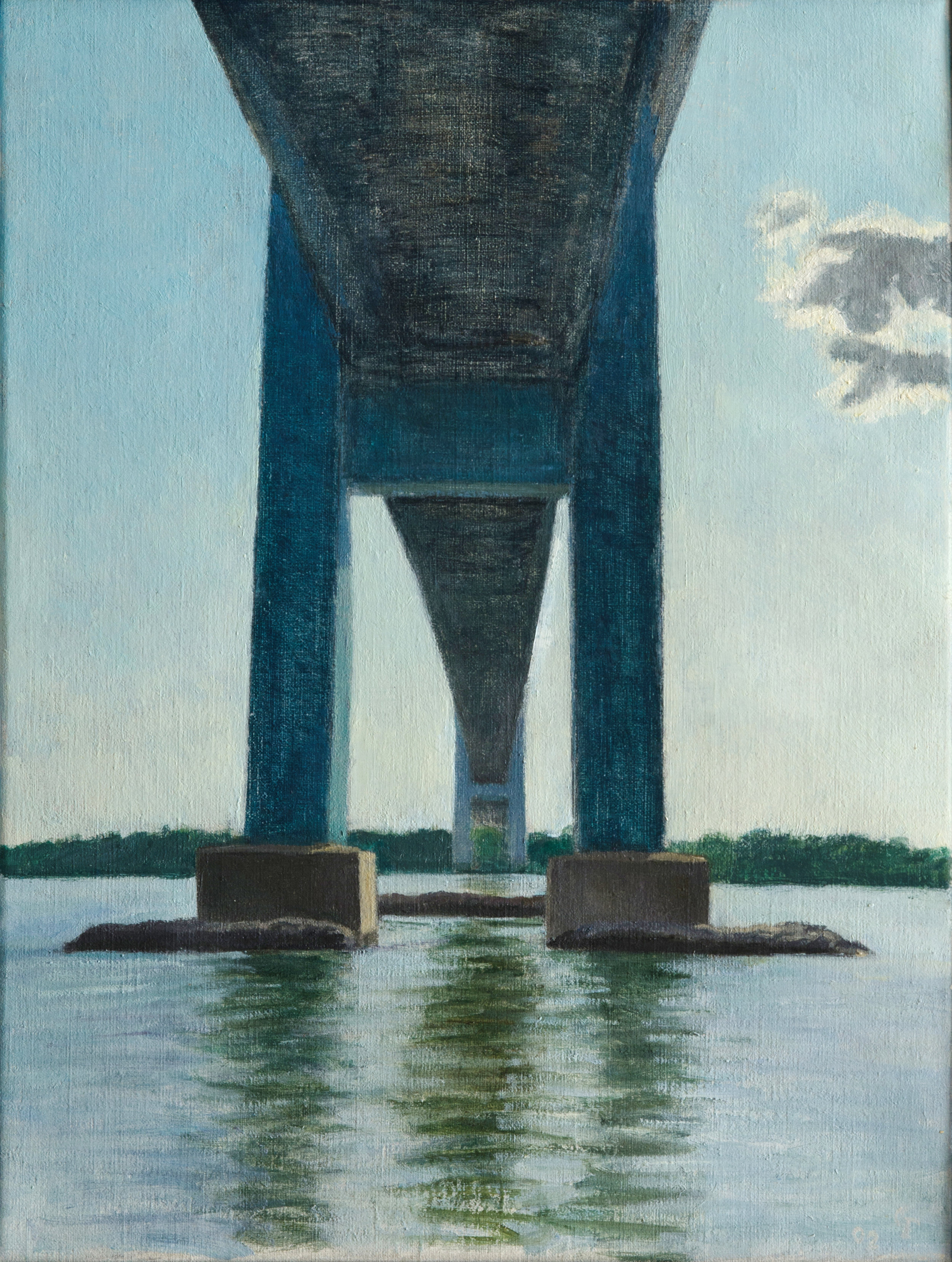 "Bridge, oil on canvas, 16"" x 12"""