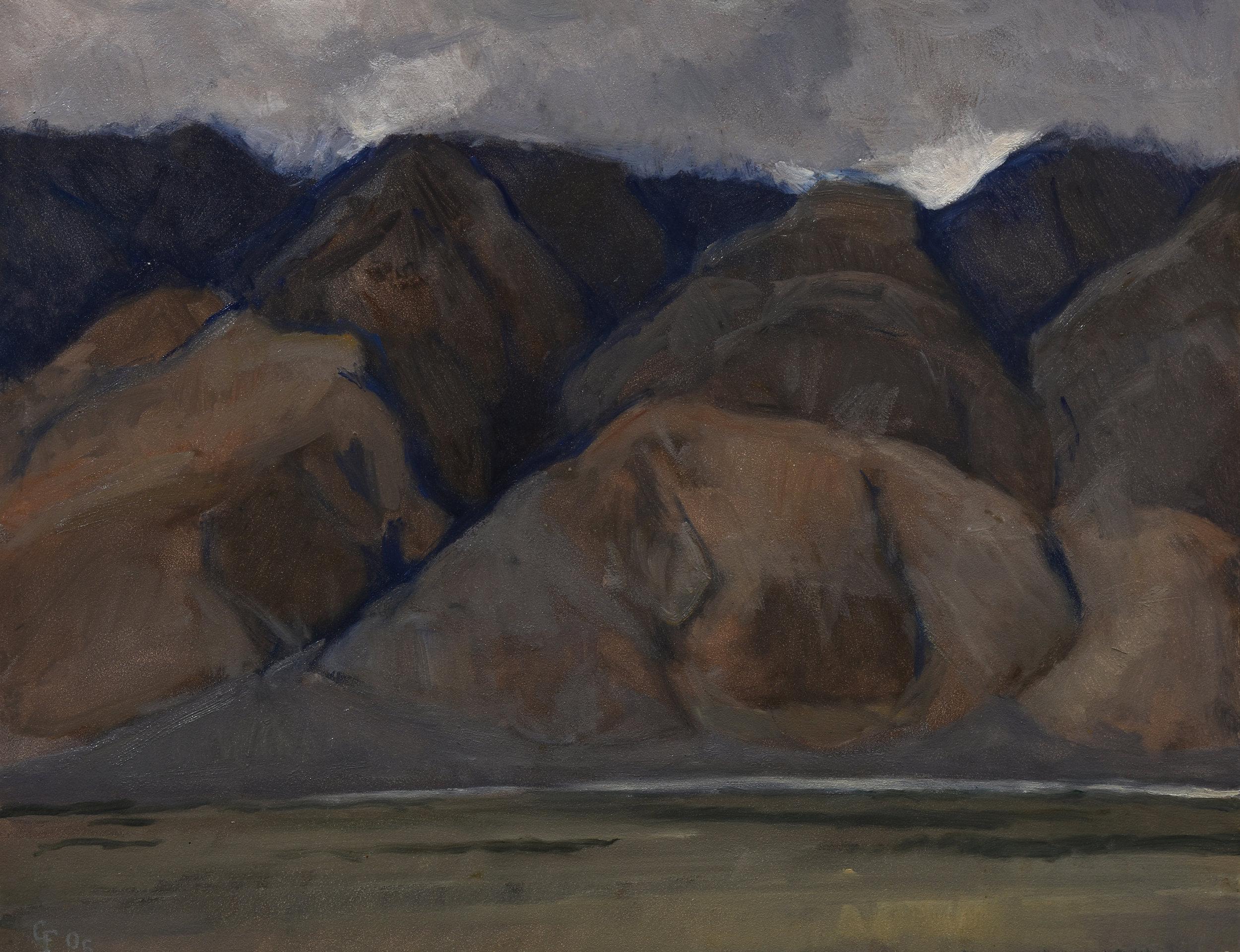 "Inyo Mountains, oil on panel, 11"" x 14"""