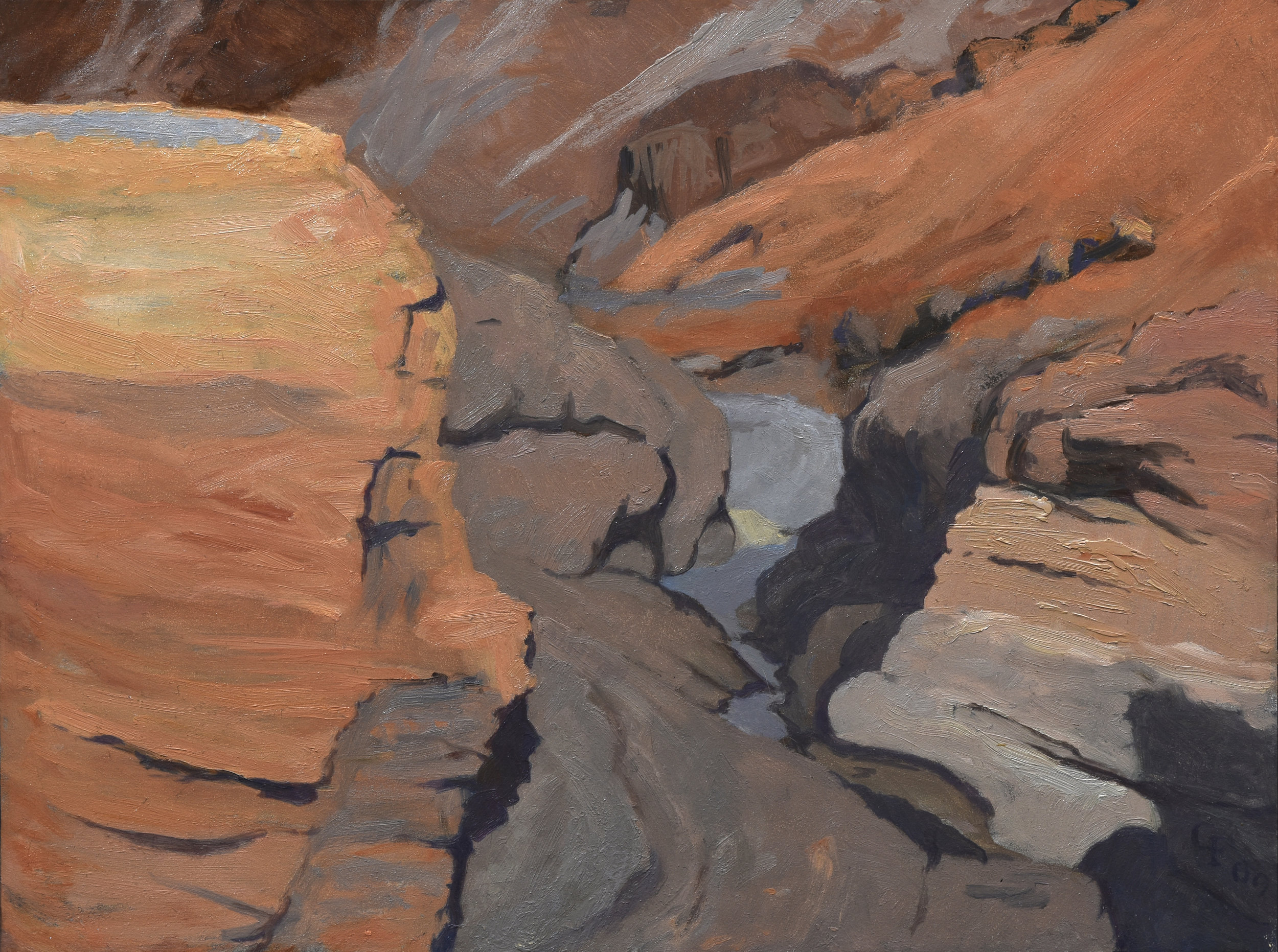 "Mosaic Canyon, oil on panel, 9"" x 12"""
