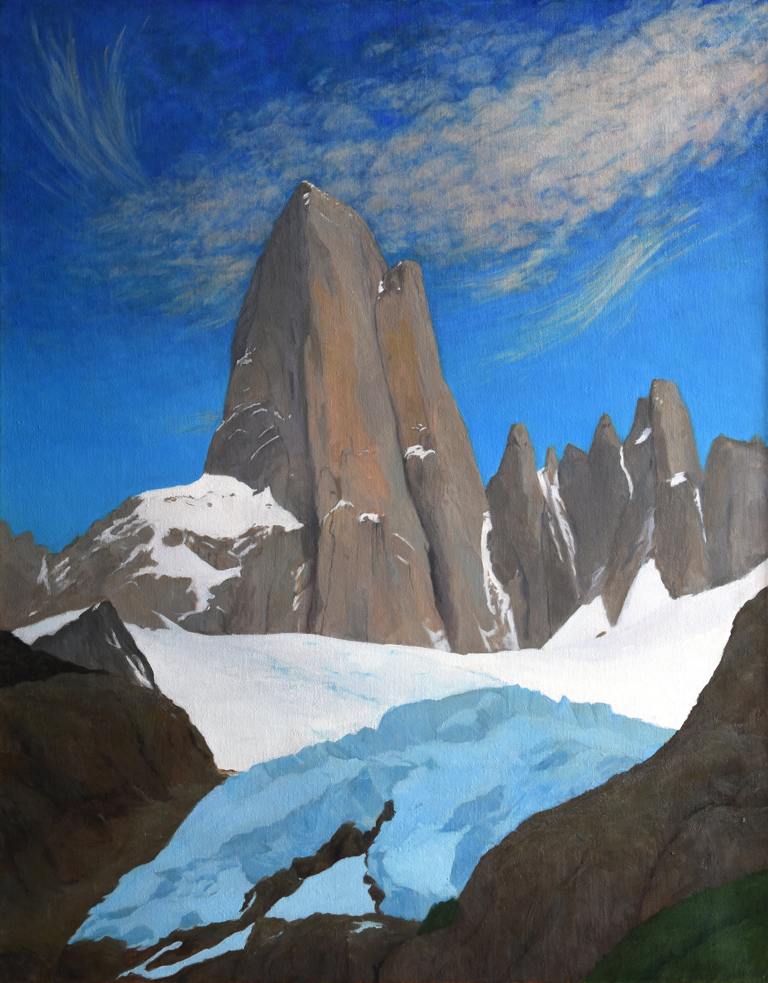 "Cerro Fitzroy, Patagona, oil on canvas, 34"" x 27"""