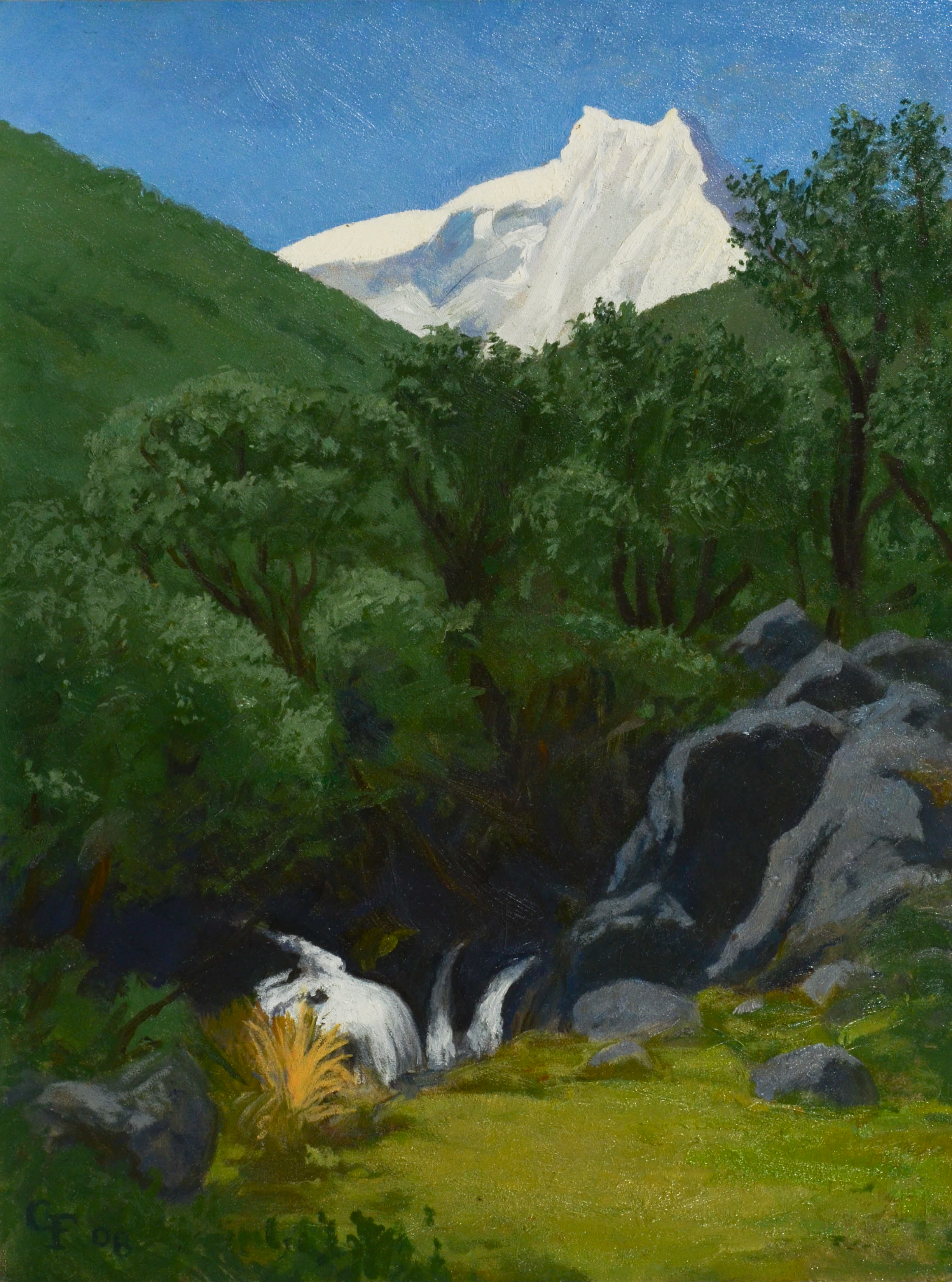 """Llaca Valley Falls, Peru, o/p, 12"""" x 9"""""""