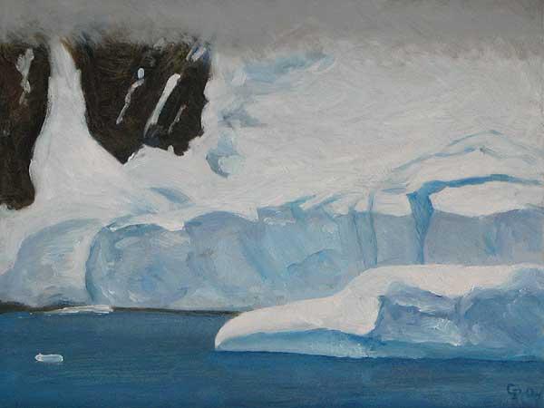 "Ice Pleneau Bay, Antarctica, oil on panel, 9"" x 12"""