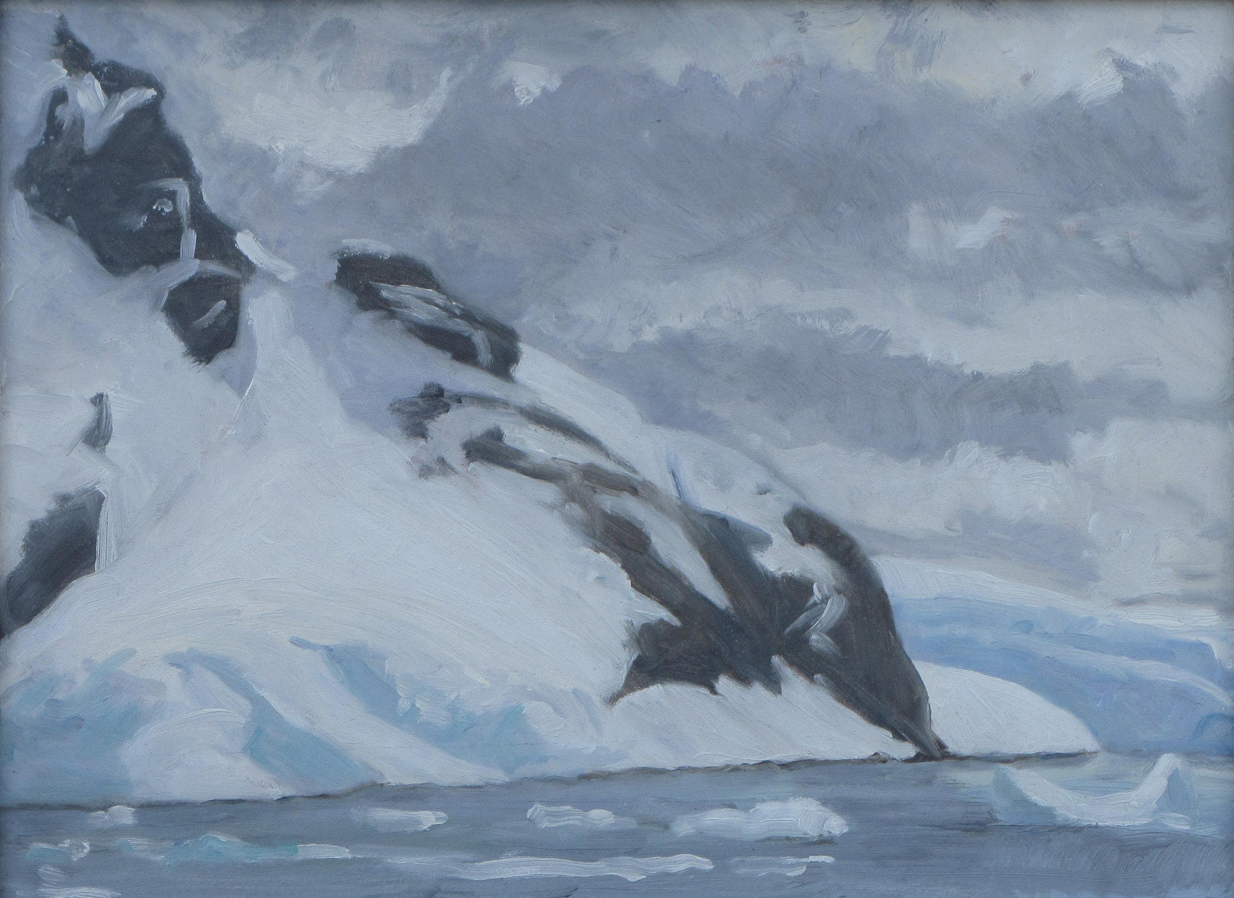 "Paradise Bay, Antarctica, oil on panel, 9"" x 12"""