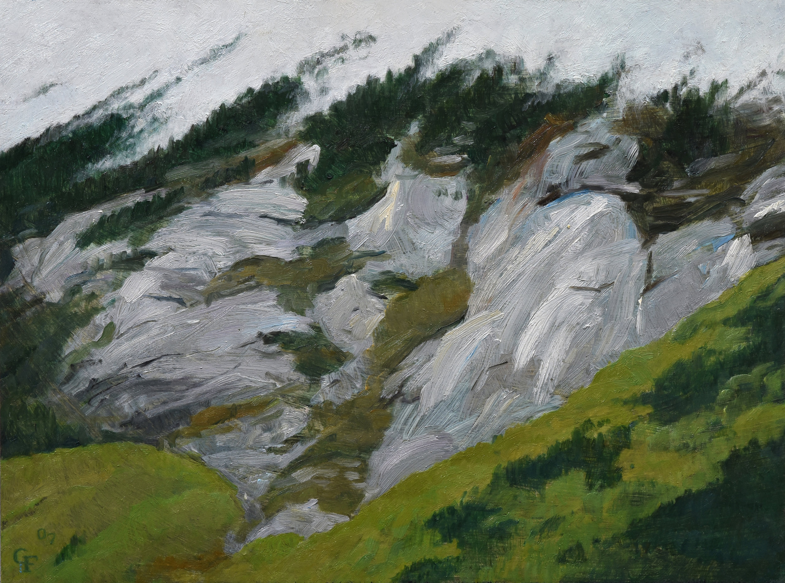 "Crawford Cliffs, oil on panel, 9"" x 12"""