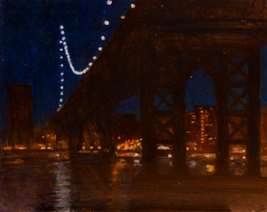 "Manhattan Bridge, oil on panel, 8"" x 10"""