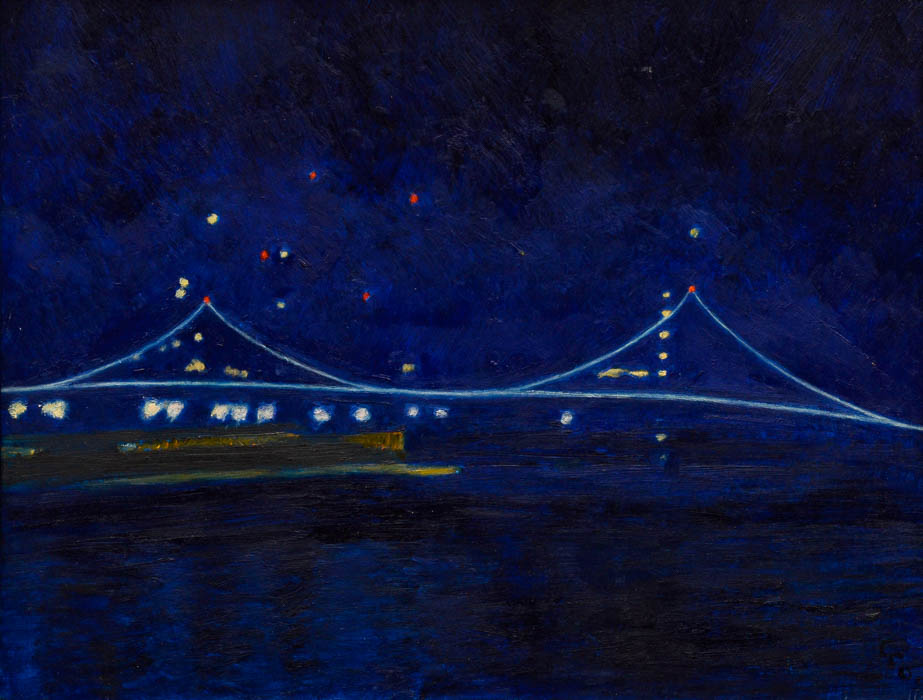 "Verrazano Bridge at Night, oil on panel, 11"" x 14"""