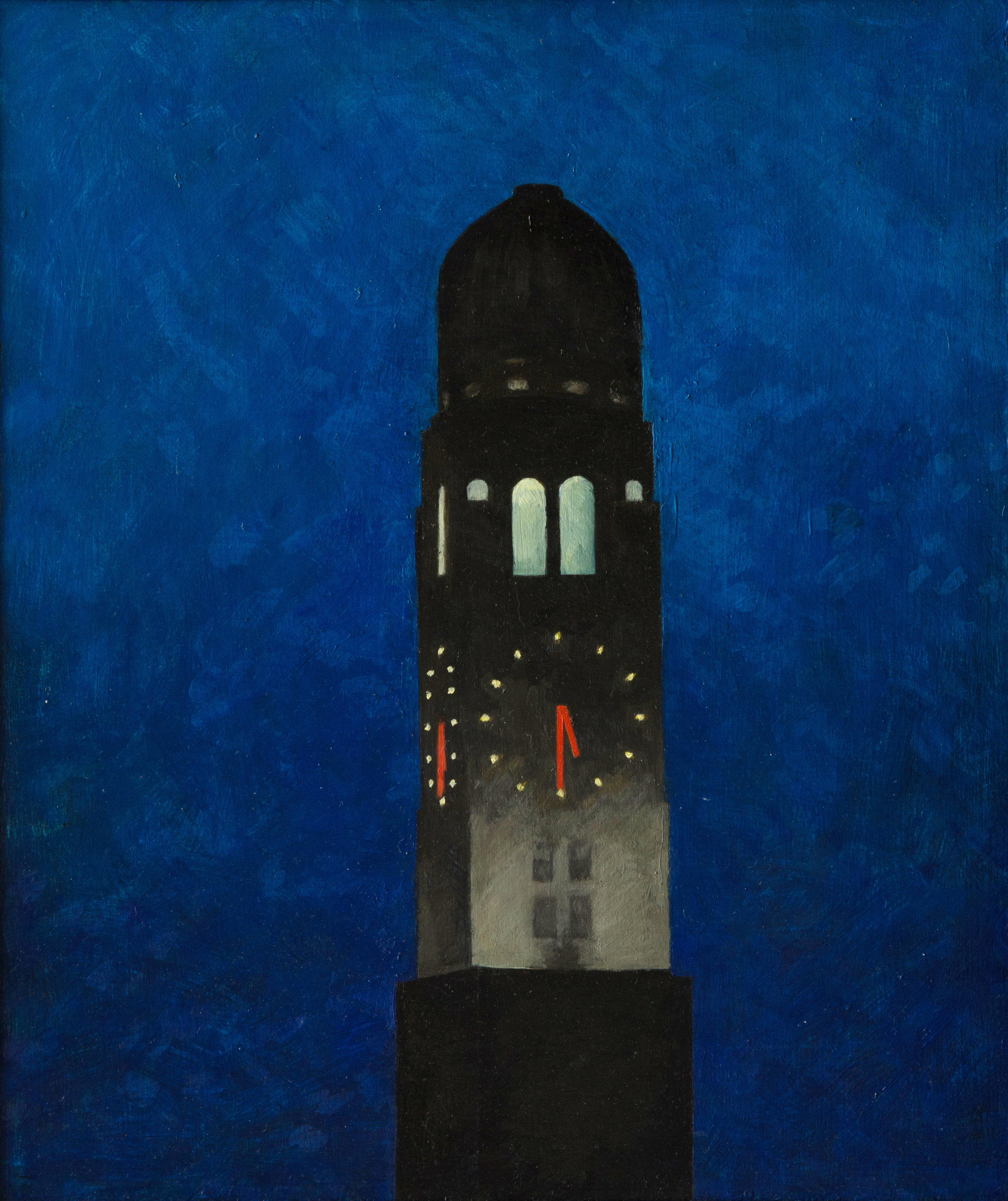 "Williamburg Tower, oil on plywood, 14"" x 12"""