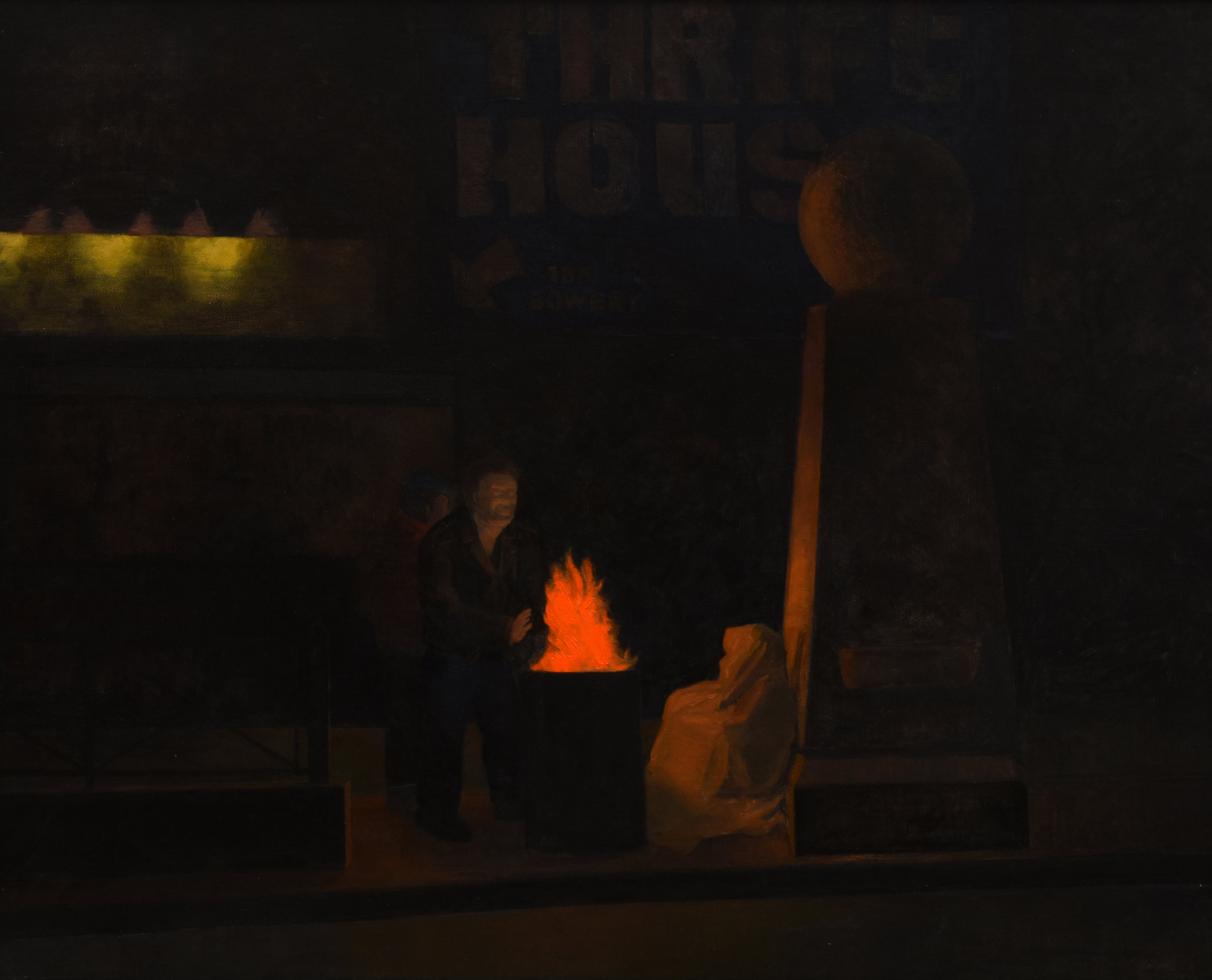 """Bowery Night, oil on canvas, 24"""" x 30"""""""