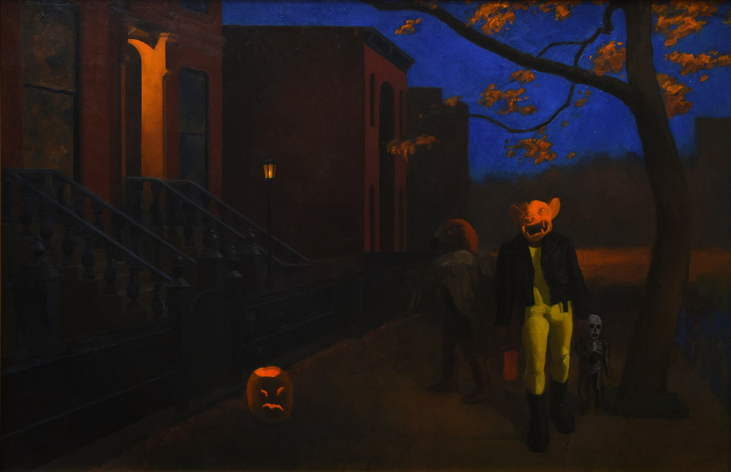 "Halloween, oil on plywood, 24"" x 36"""