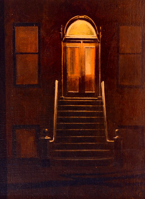 "Nocturne Doorway, oil on panel, 12"" x 9"""