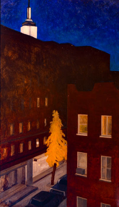 "Empire State Building Nocturne, oil on panel,        24"" x 14"""
