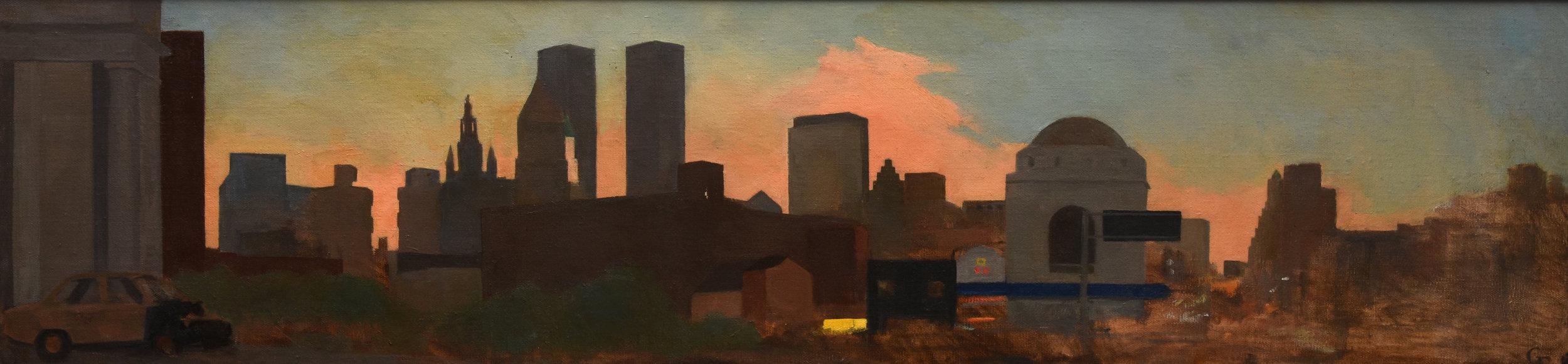"Manhattan Bridge Panorama, oil on canvas, 10"" x 30"""