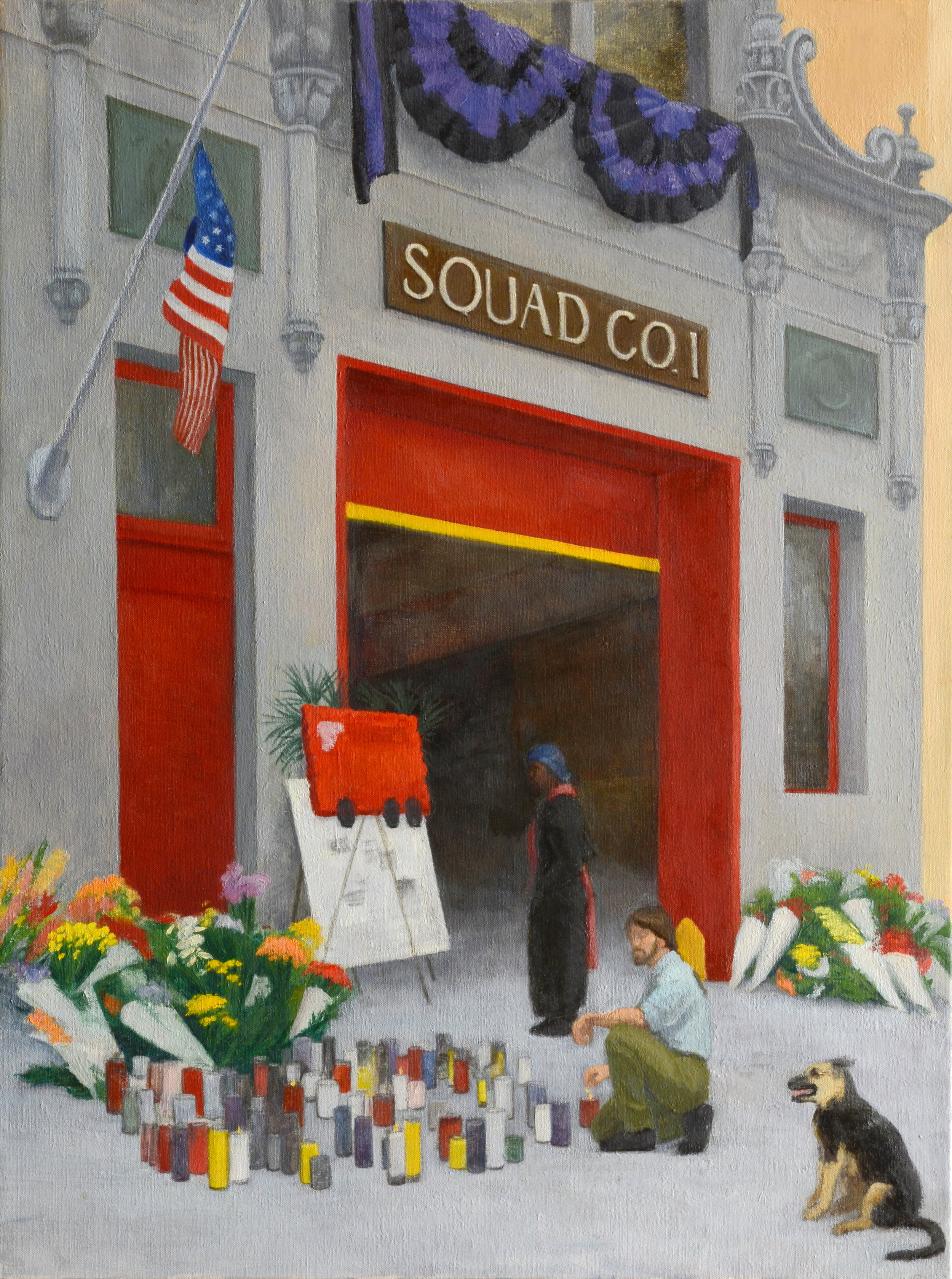 "Union Street Firestation, oil on canvas, 24"" x 18"""