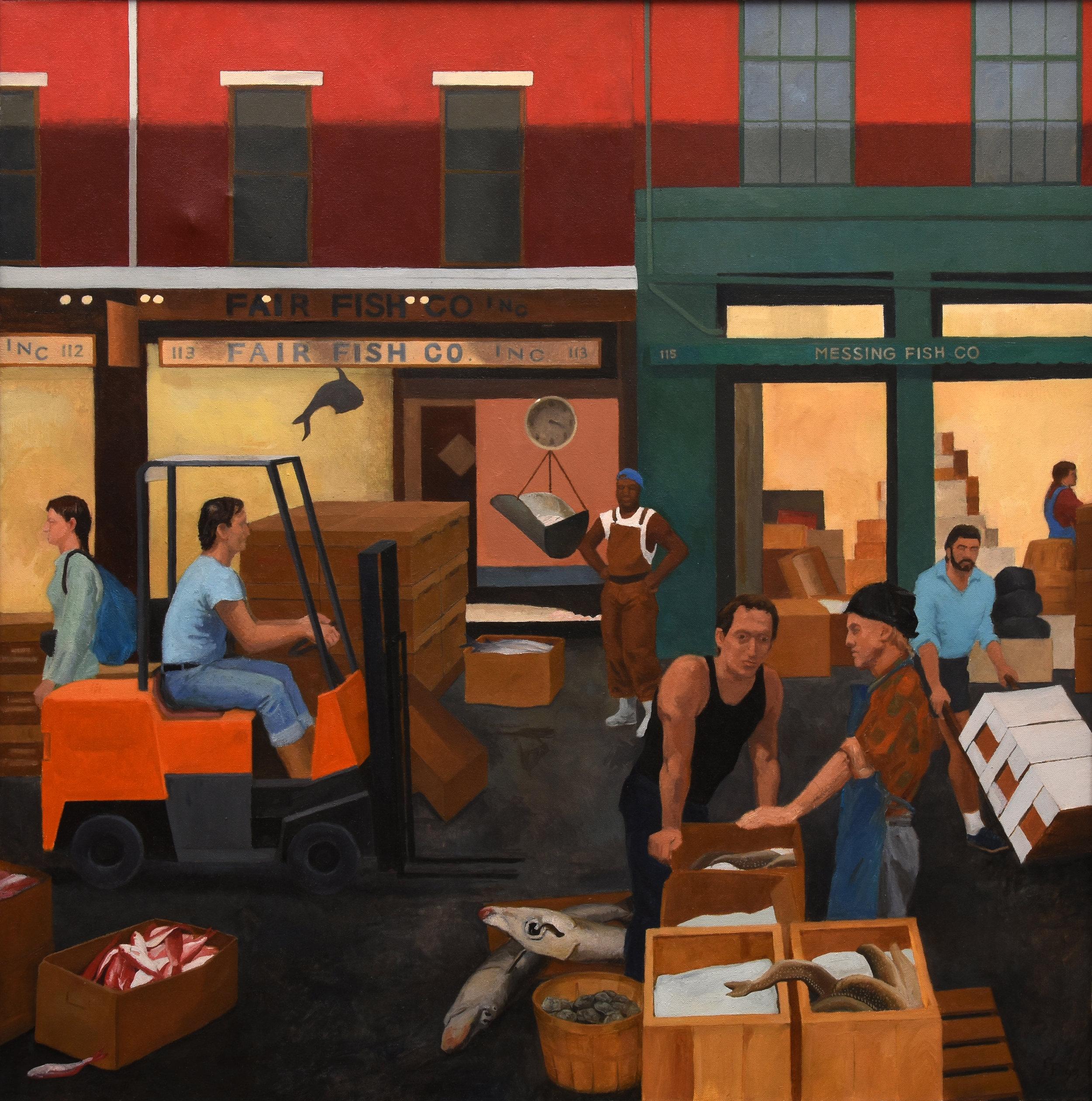 "Fish Market, oil on canvas, 30"" x 30"""