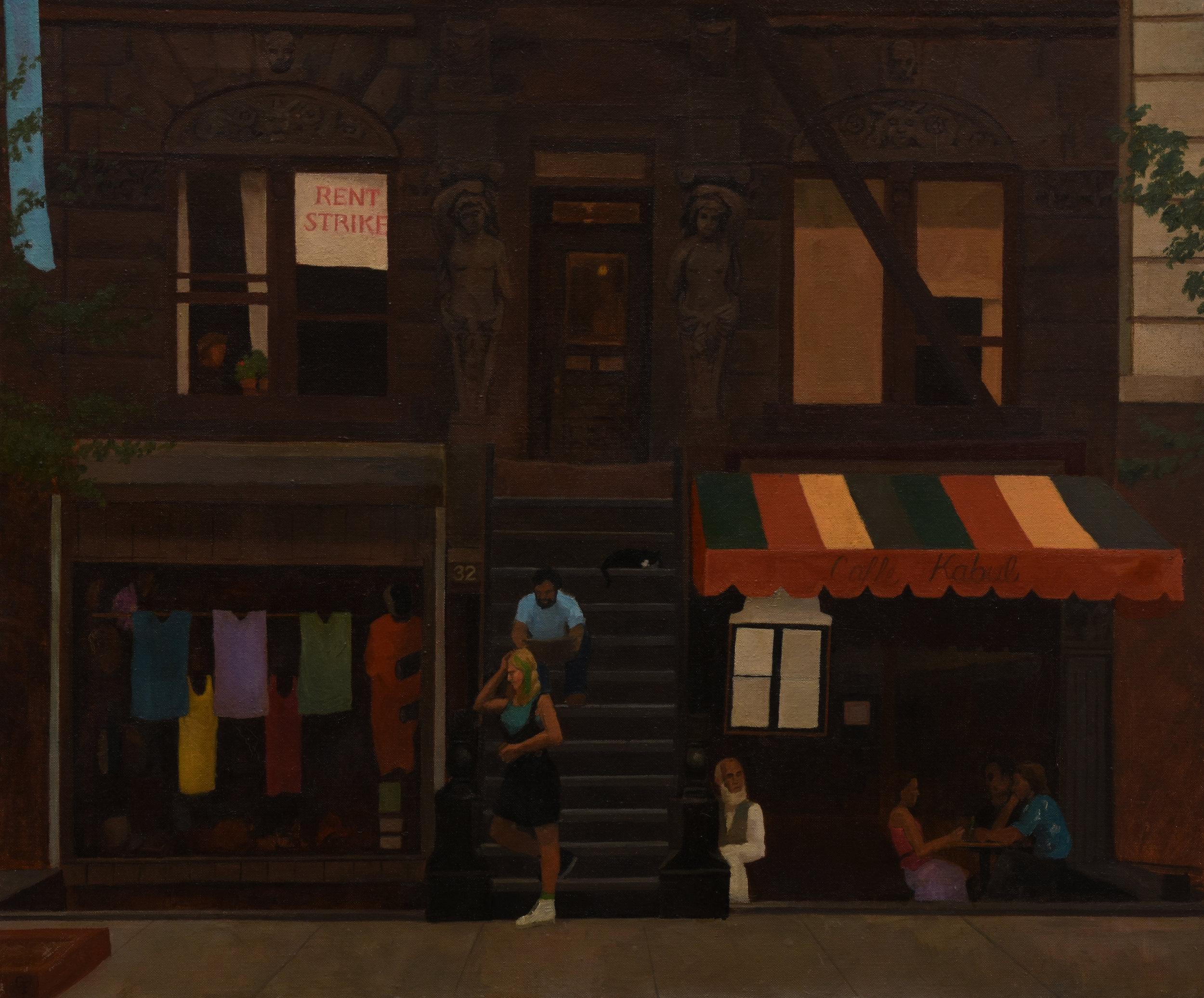 "32 Saint Marks Place, oil on canvas, 20"" x 24"""