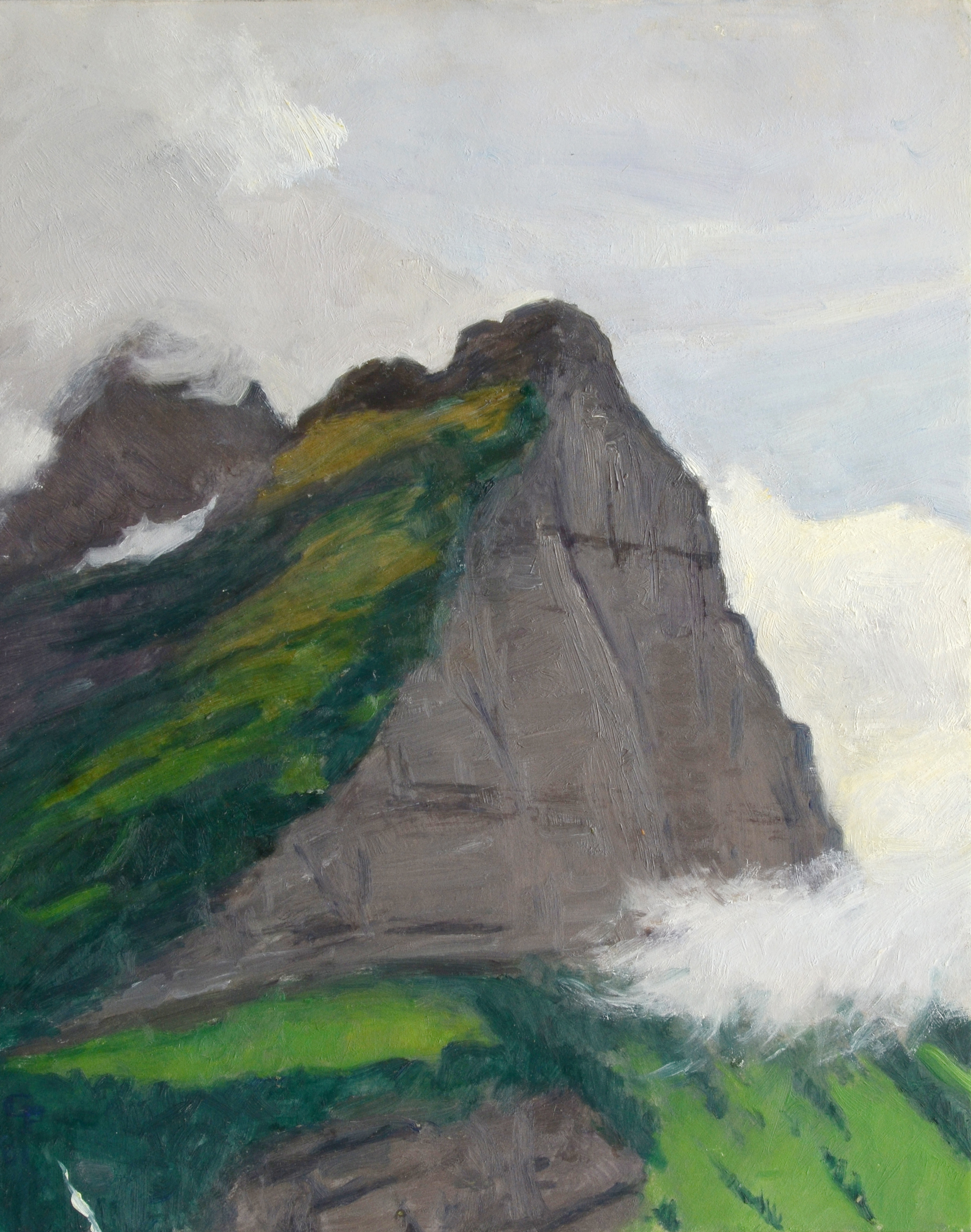 """Cliffs and Clouds, oil on panel, 10"""" x 8"""""""