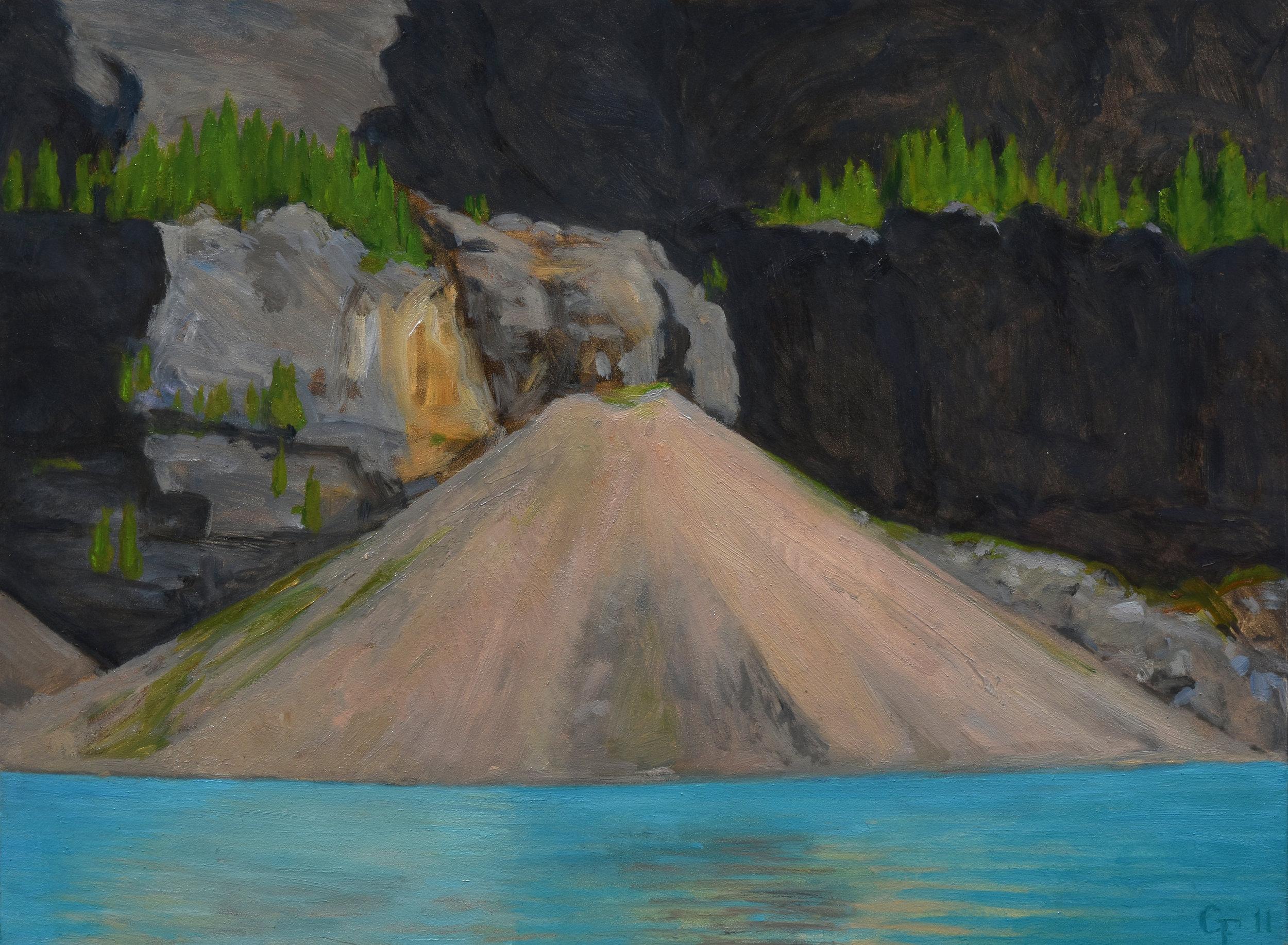 """Debris Cone, Moraine Lake, oil on panel, 9"""" x 12"""""""