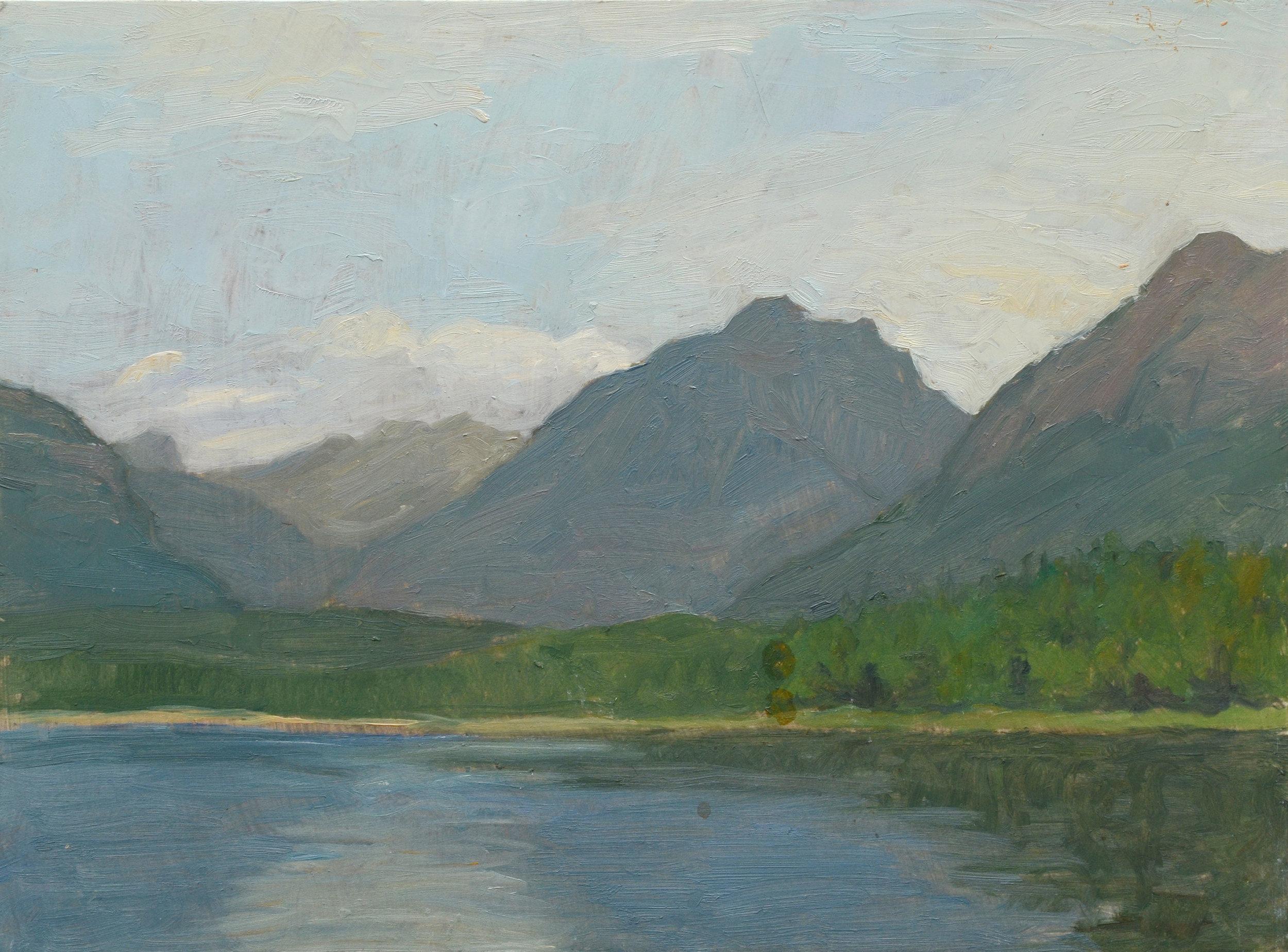 "Lake McDonald, oil on panel, 9"" x 12"""