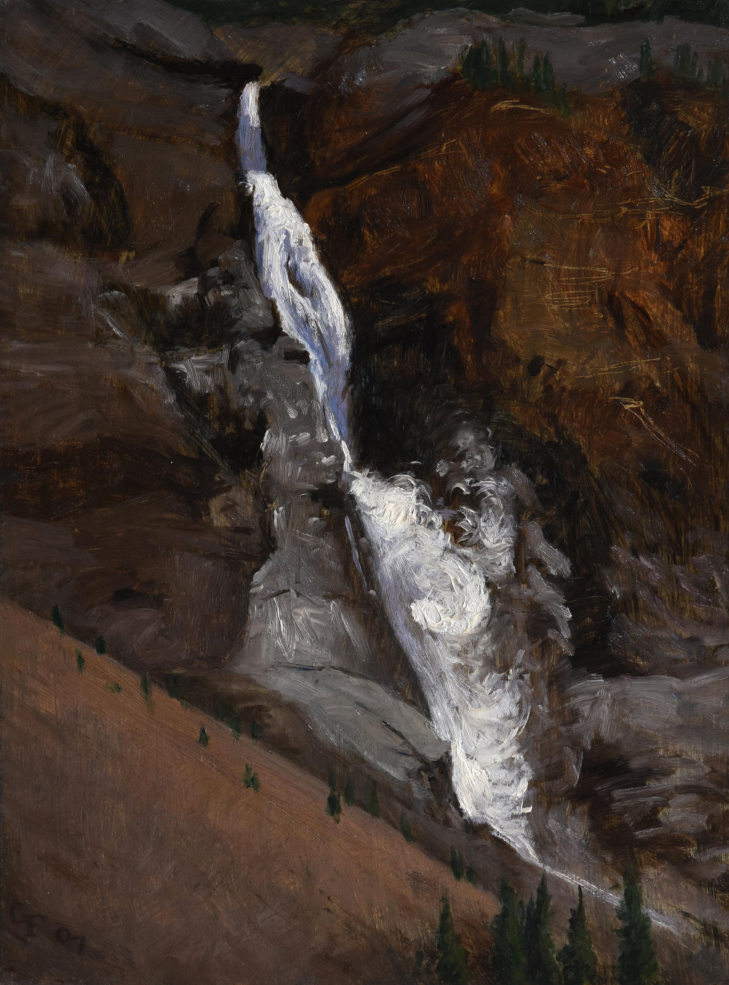 "Takakkaw Falls, oil on panel, 12"" x 9"""