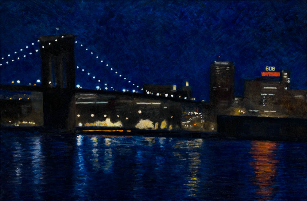"Brooklyn Bridge 2, oil on panel, 17.5"" x 26"""