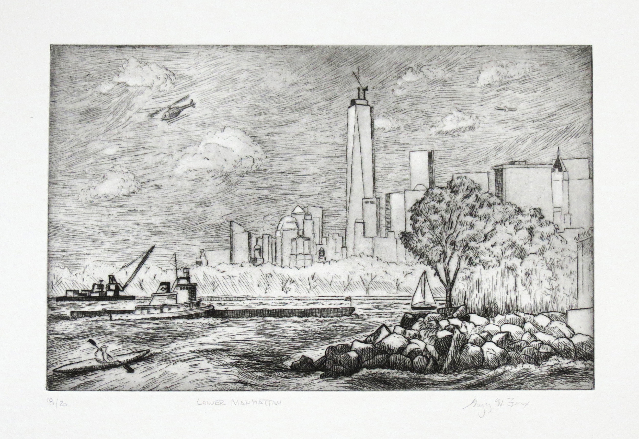 Lower Manhattan, etching