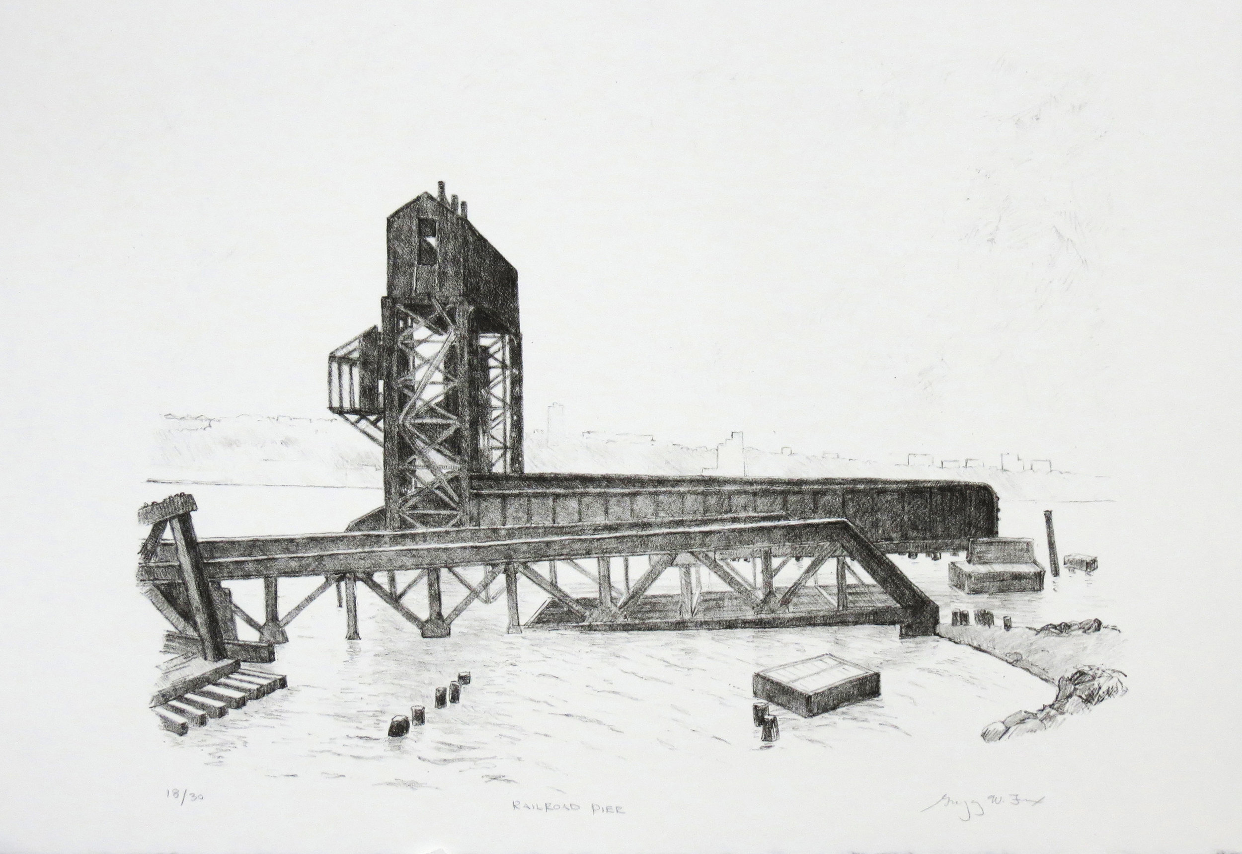 Railroad Pier, lithograph