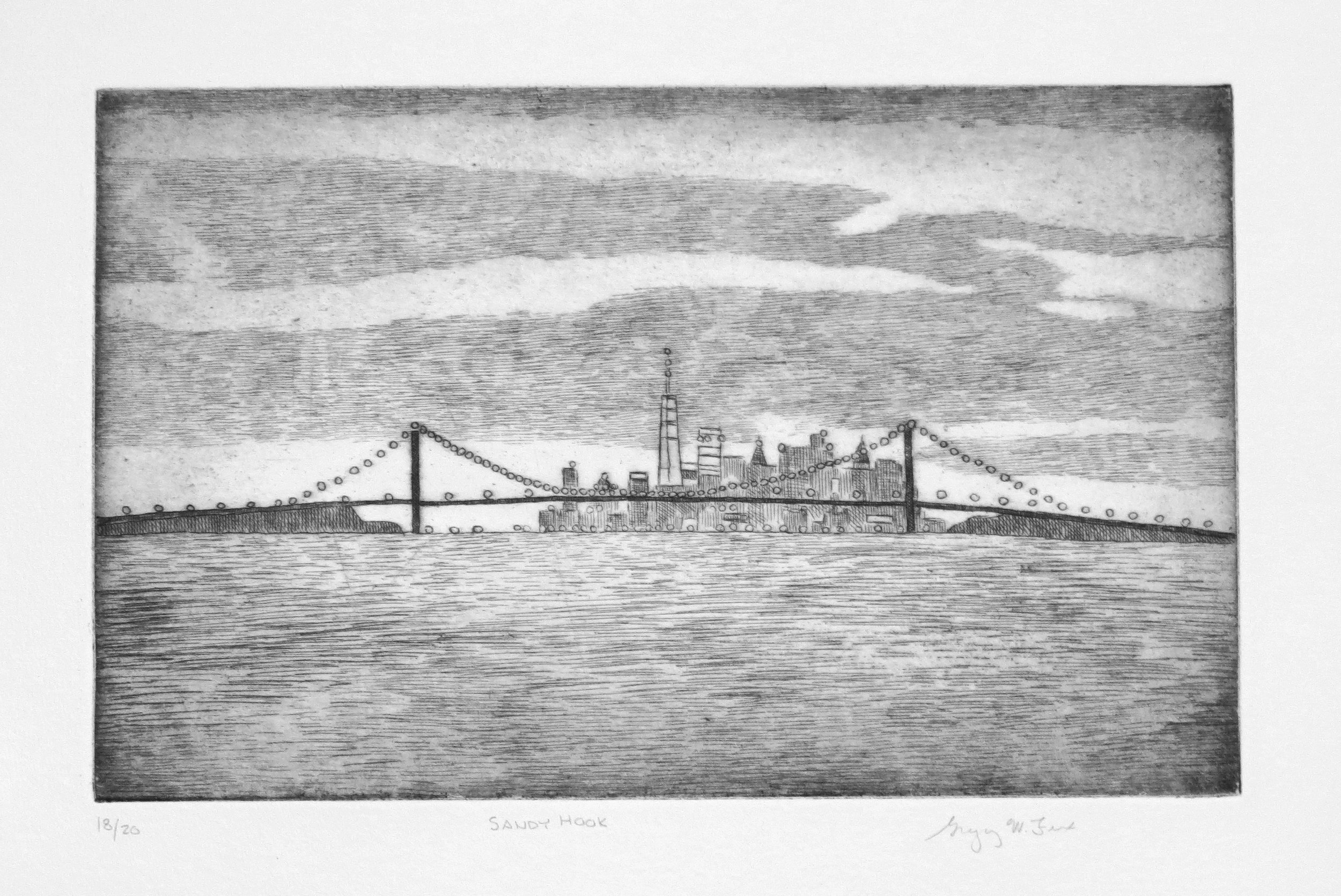 Sandy Hook, etching