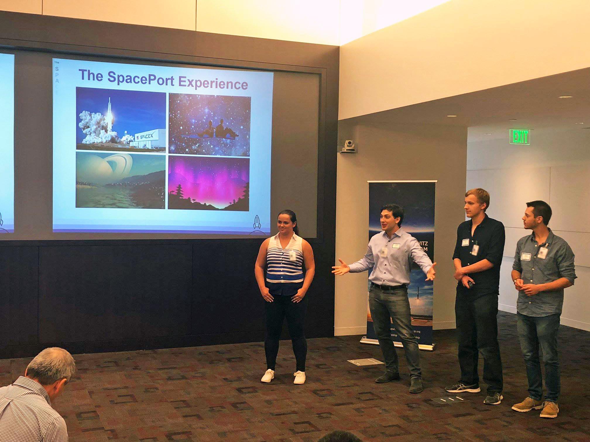 Fellows presenting their winning idea at the 2018 Shark Tank Challenge.