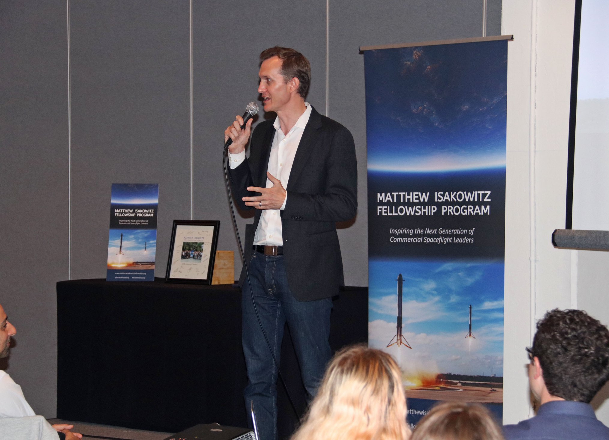 George Whitesides (CEO of Virgin Galactic and The Spaceship Company) delivering the keynote address at the 2018 Summit Dinner.