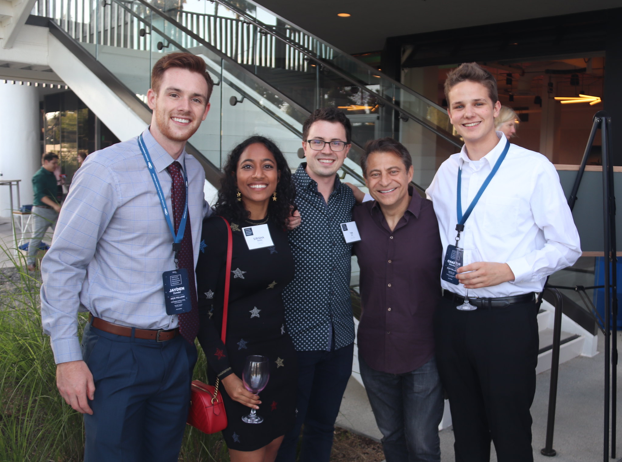 Fellows with Sirisha Bandla (MIFP Team Member; Business Development & Government Affairs Manager, Virgin Orbit), Tim Ellis (Co-founder and CEO, Relativity Space), and Peter Diamandis (Founder and Executive Chairman, XPRIZE Foundation).
