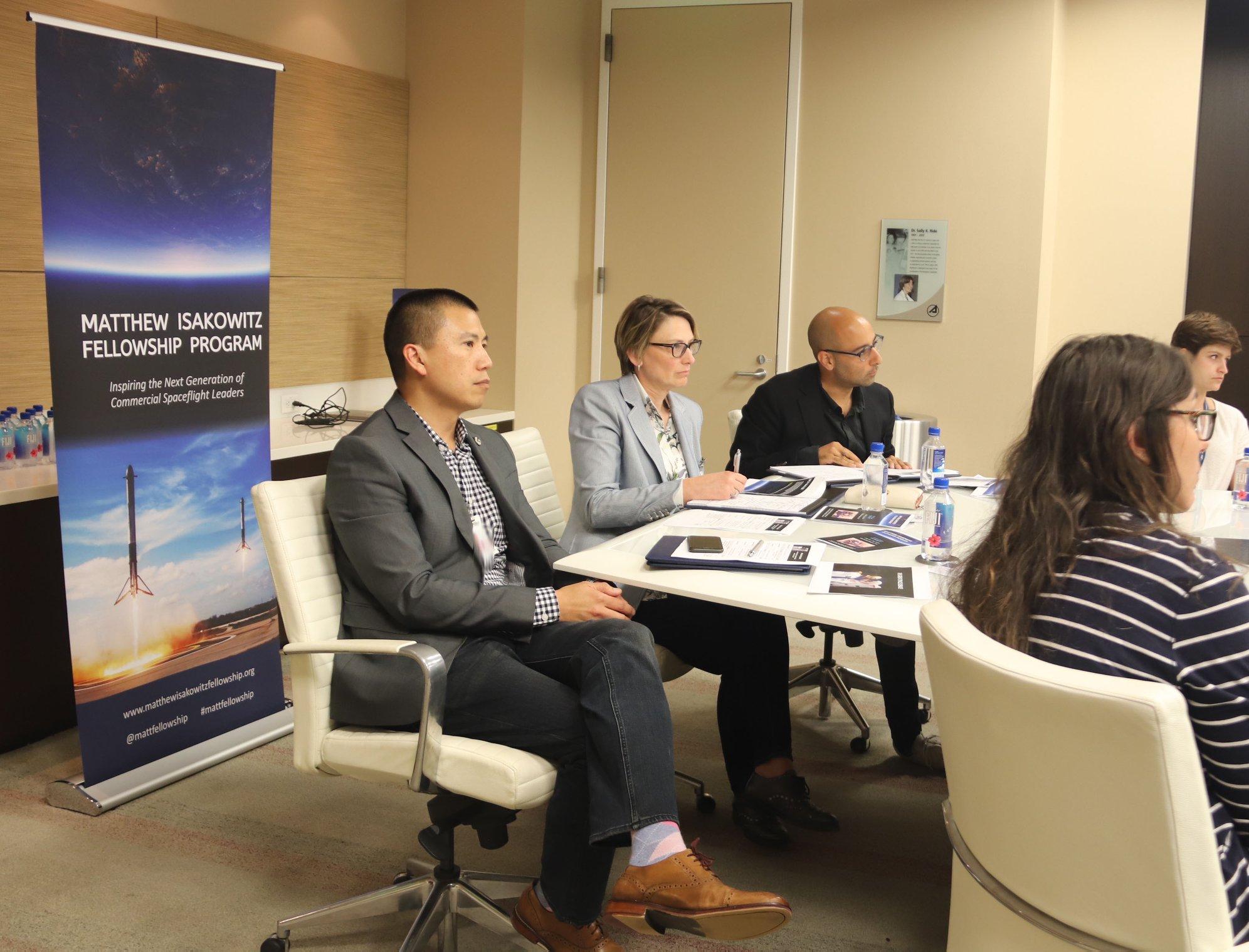 Judges of the 2019 Great Space Debate: Randy Villahermosa (Aerospace Corporation), Melanie Stricklan (Slingshot Aerospace), and Van Espahbodi (Starburst).