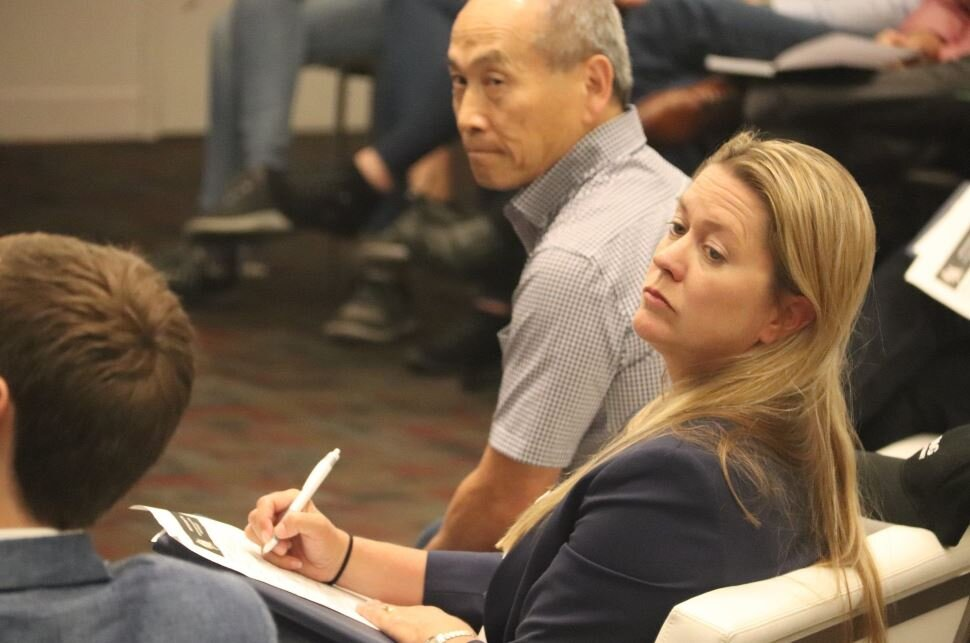 John Gedmark (Co-founder and CEO, Astranis), Barry Matsumori (CEO, BridgeComm) and Mandy Vaughn (President, VOX Space) judging the 2018 Shark Tank Challenge.