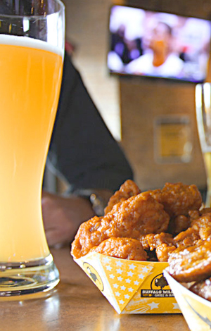 Beer and a basket of wings